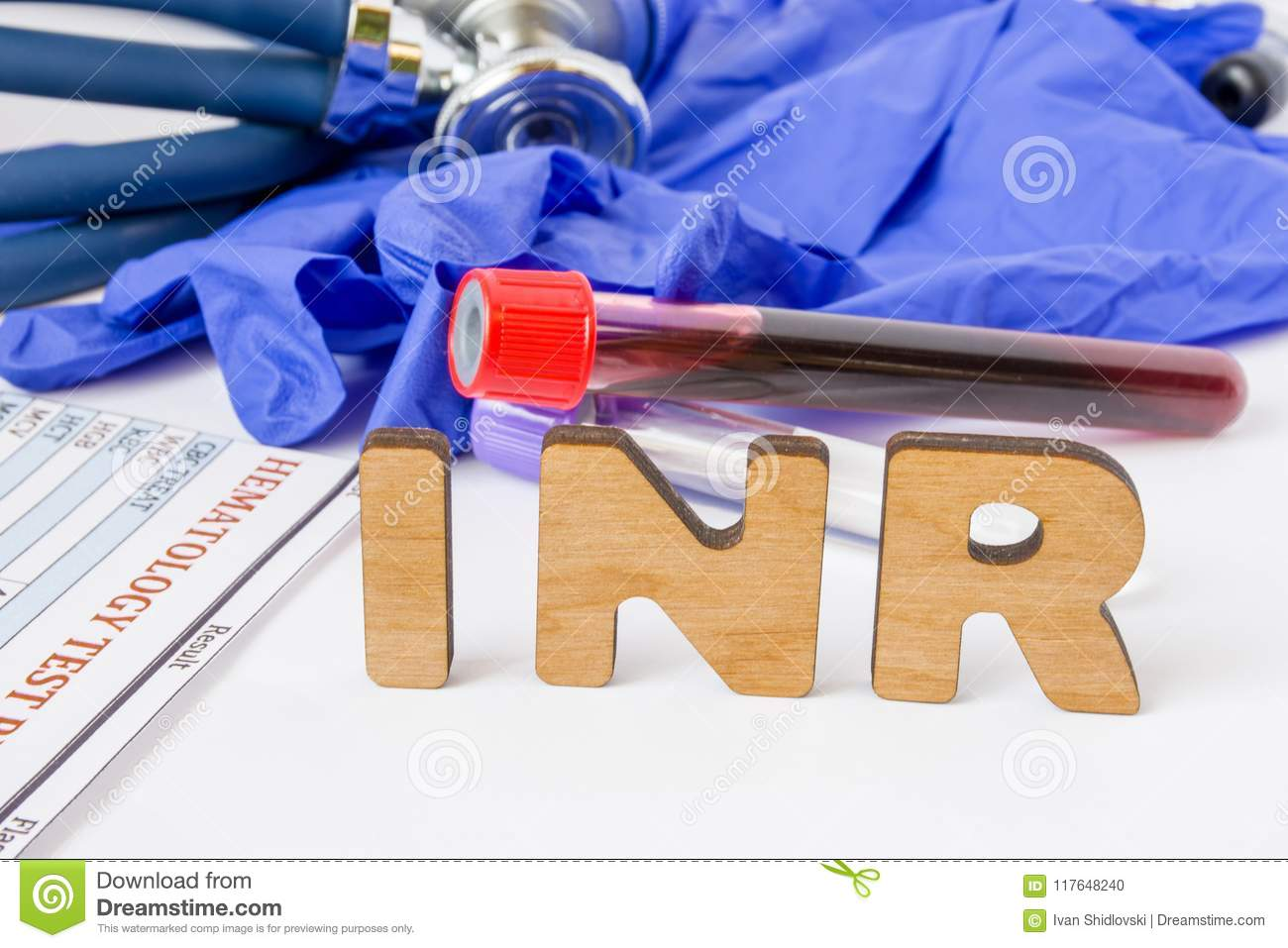 INR Clinical laboratory medical acronym or abbreviation of prothrombin time, blood test for clotting time. Word INR are near labor