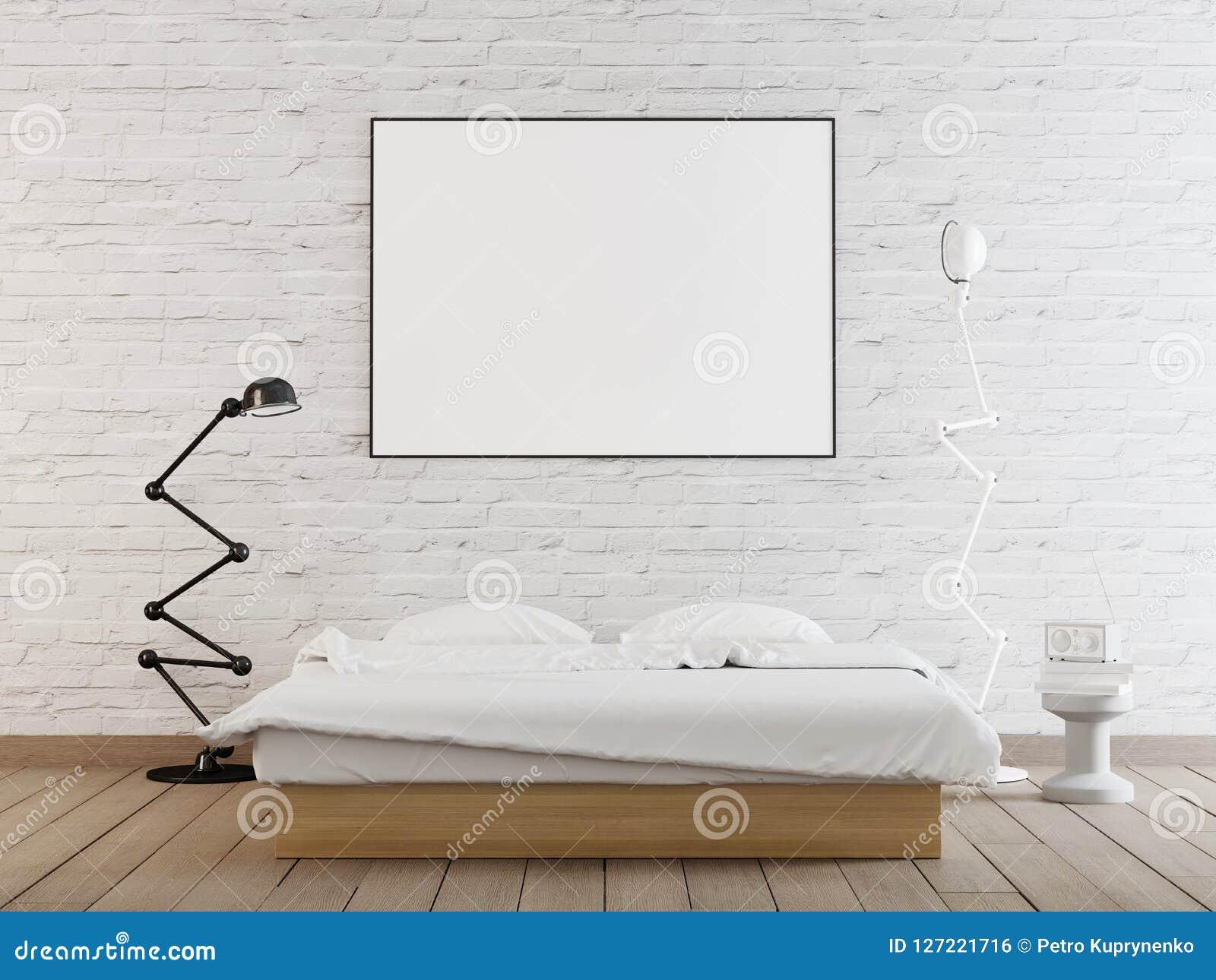 Inre affischåtlöje upp med horisontalramen på väggen i hem- sovruminre
