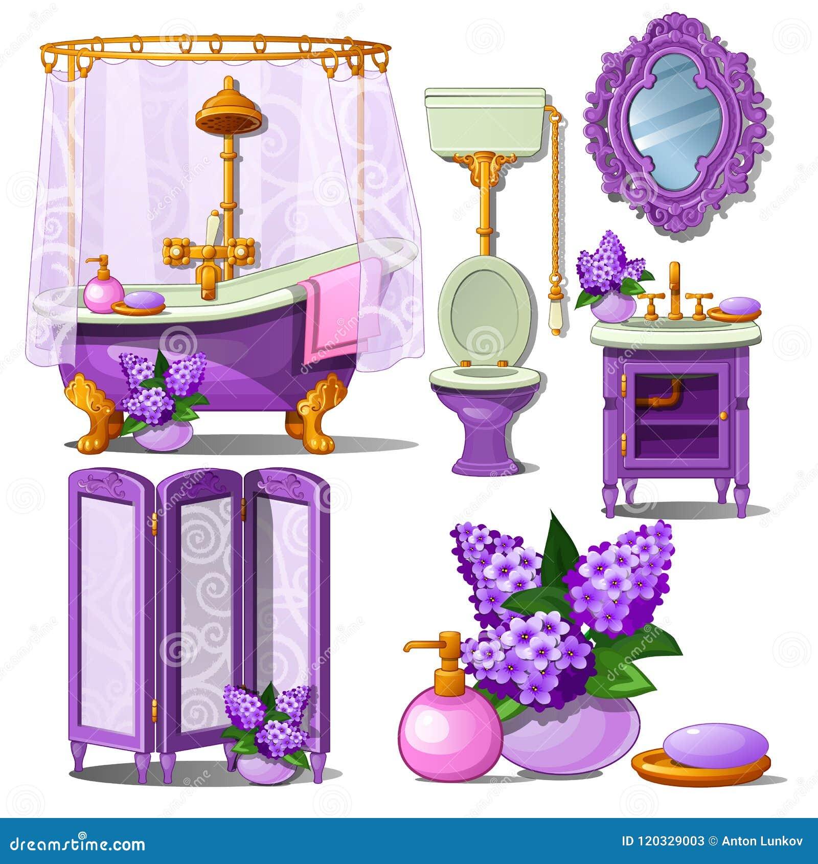 Inre av badrummet i lilor färgar isolerat på vit bakgrund Illustration för vektortecknad filmnärbild