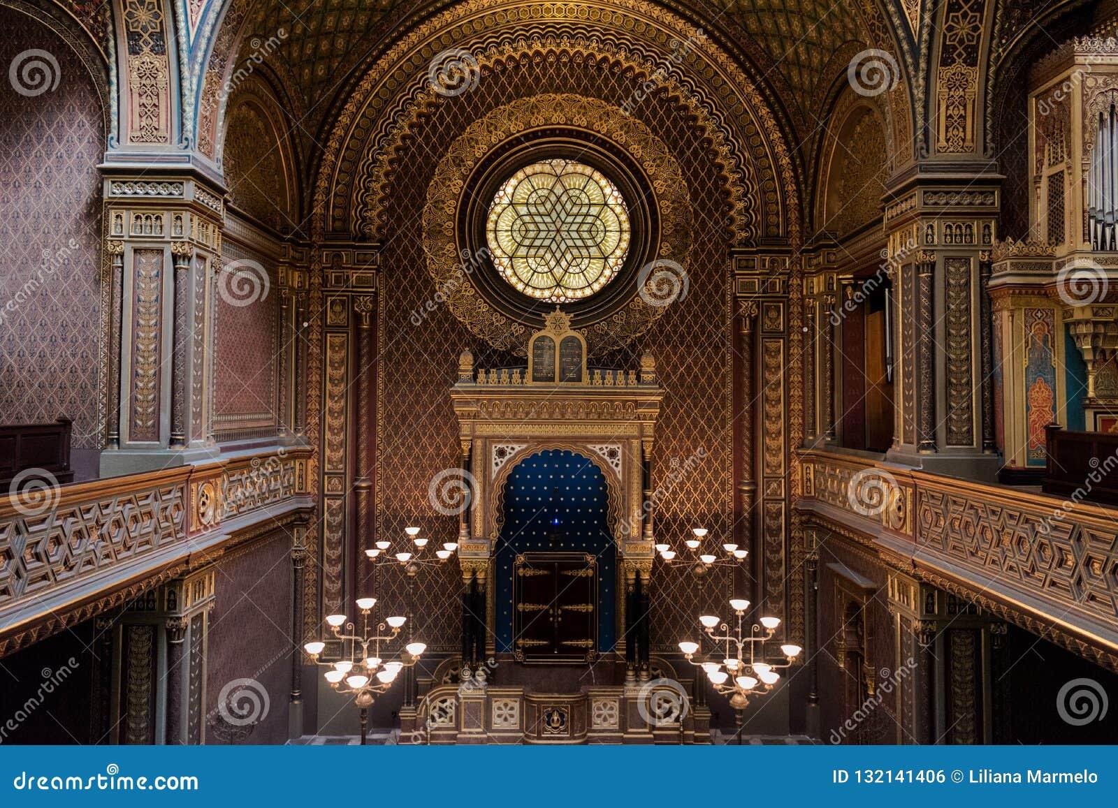 Inre av den spanska synagogan, Prague - Tjeckien