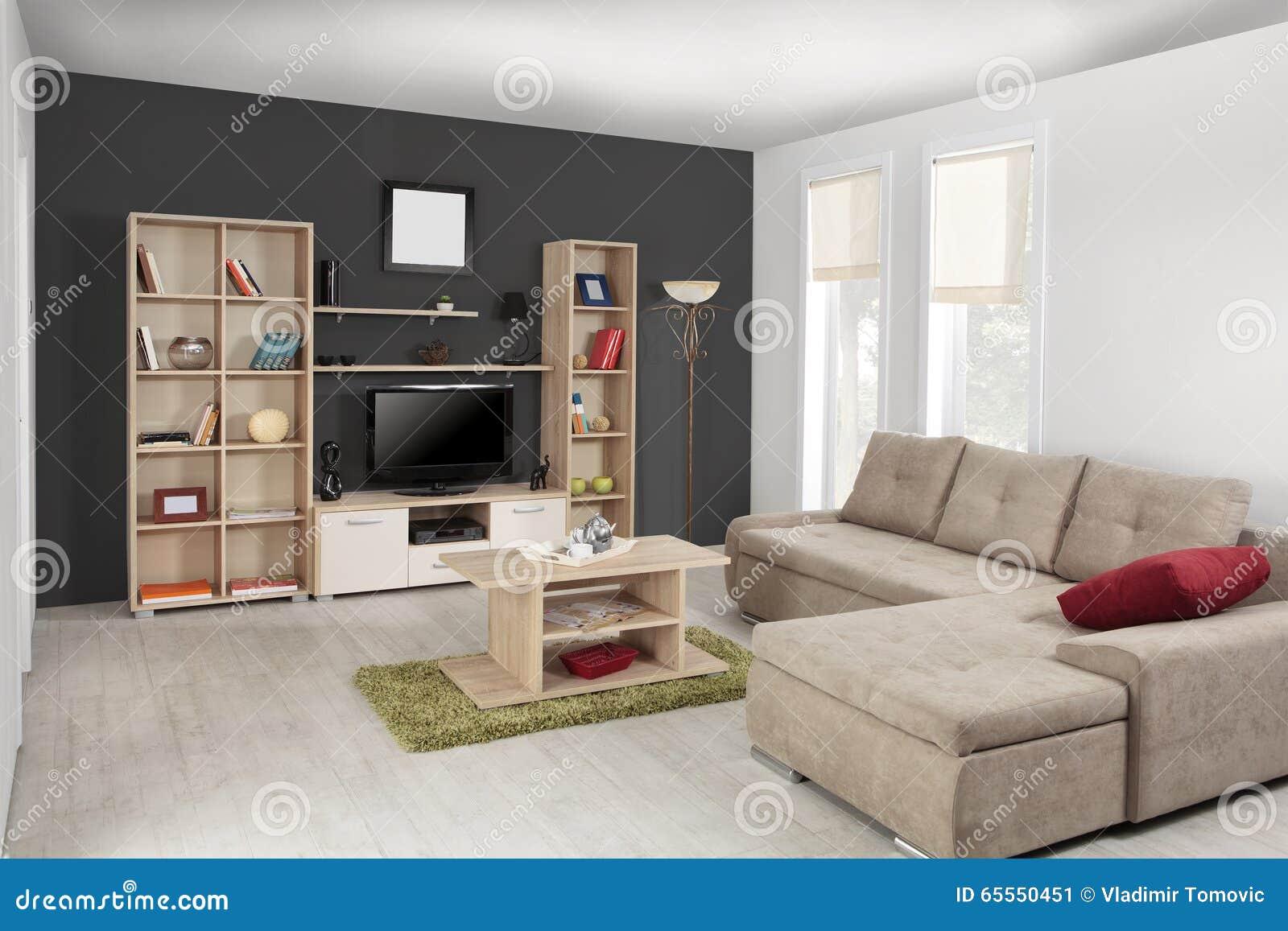 Inre av en modern vardagsrum i färg arkivfoto   bild: 65551253