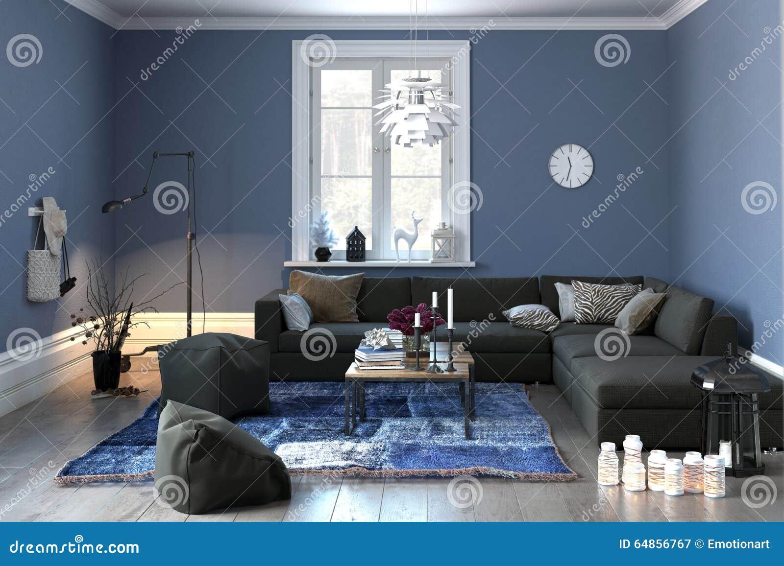 Inre av en modern vardagsrum i grå färger och blått stock ...