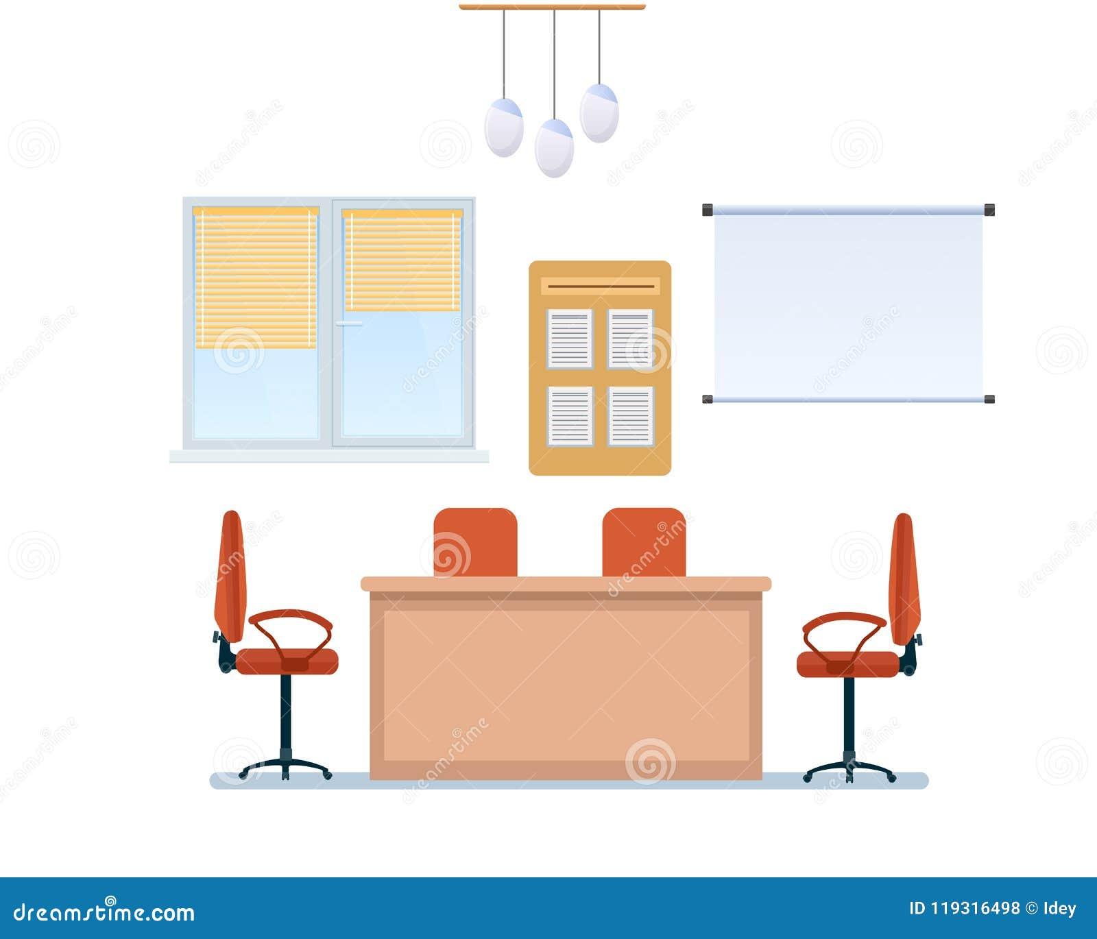 Inre av funktionsdugligt rum för kontor med möblemang, växelverkande whiteboard, ljuskrona