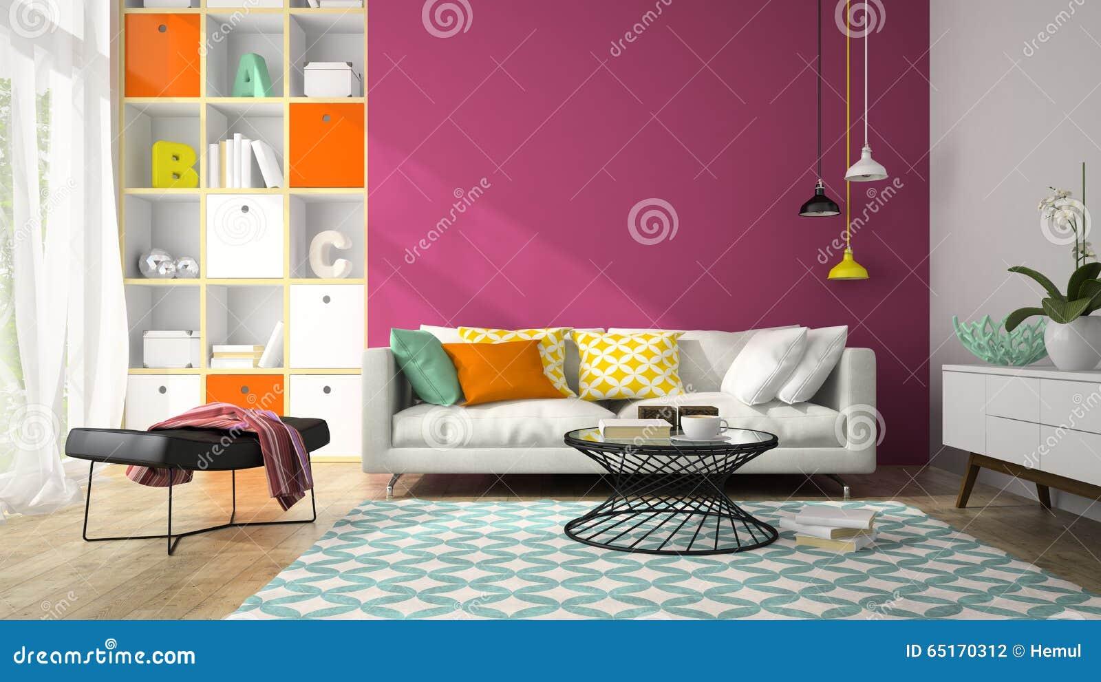 Inre av rum för modern design med den purpurfärgade väggen 3D som framför 2