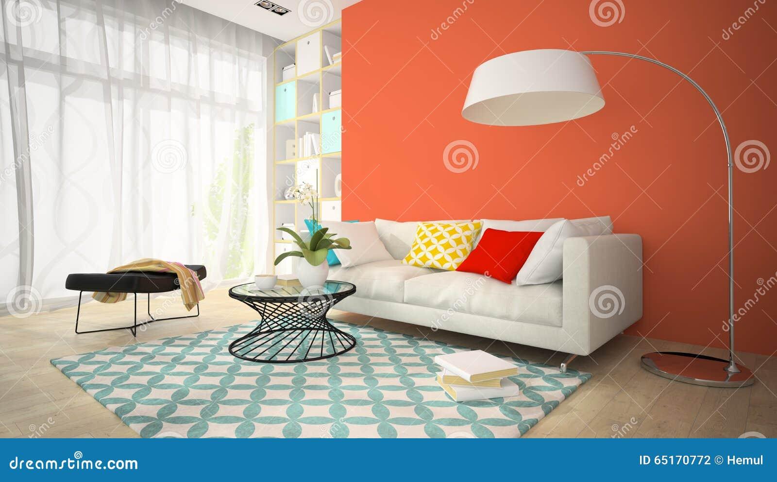 Inre av rum för modern design med den röda vasen 3D som framför 4