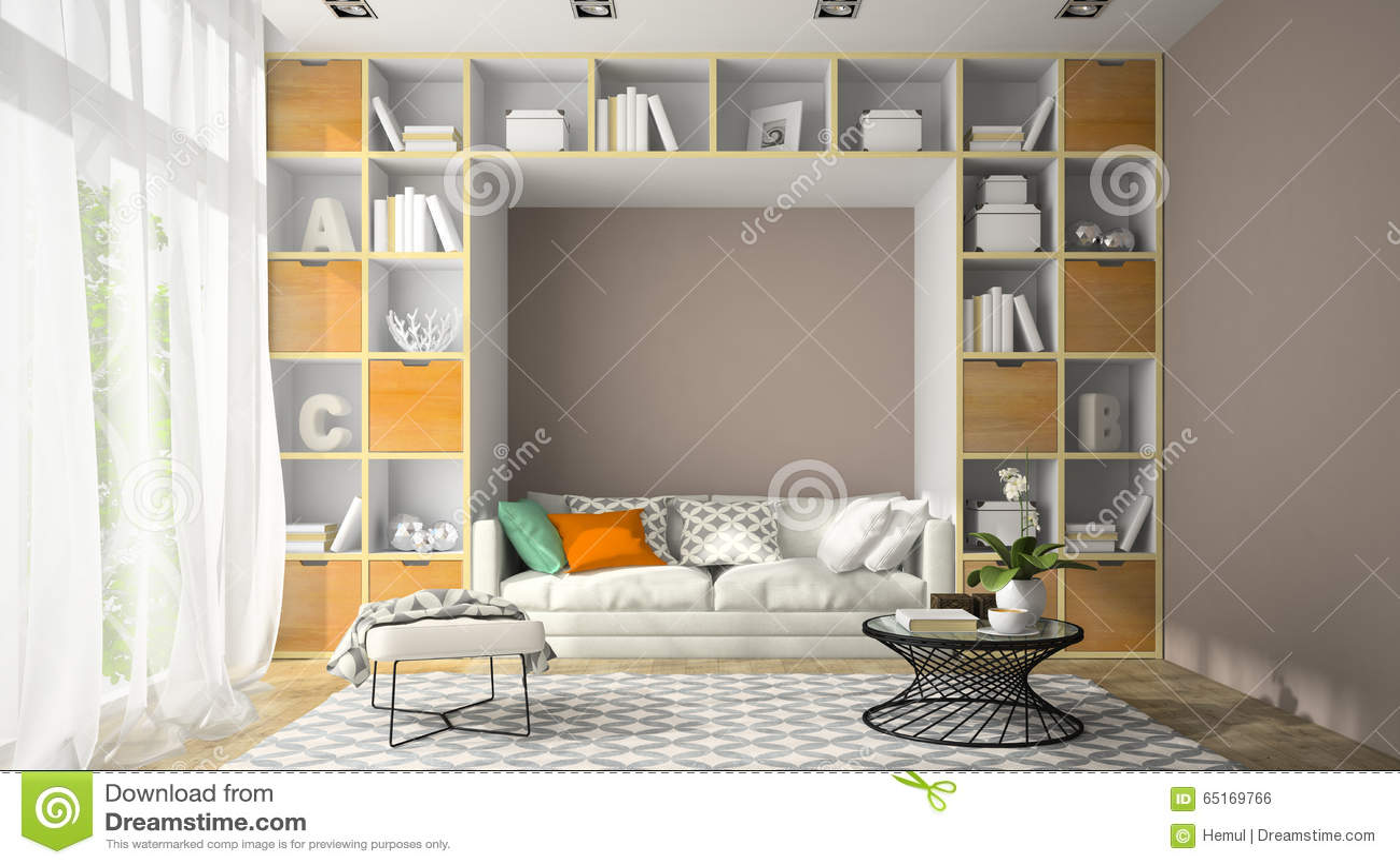 Inre av rum för modern design med tolkningen för hyllavägg 3D