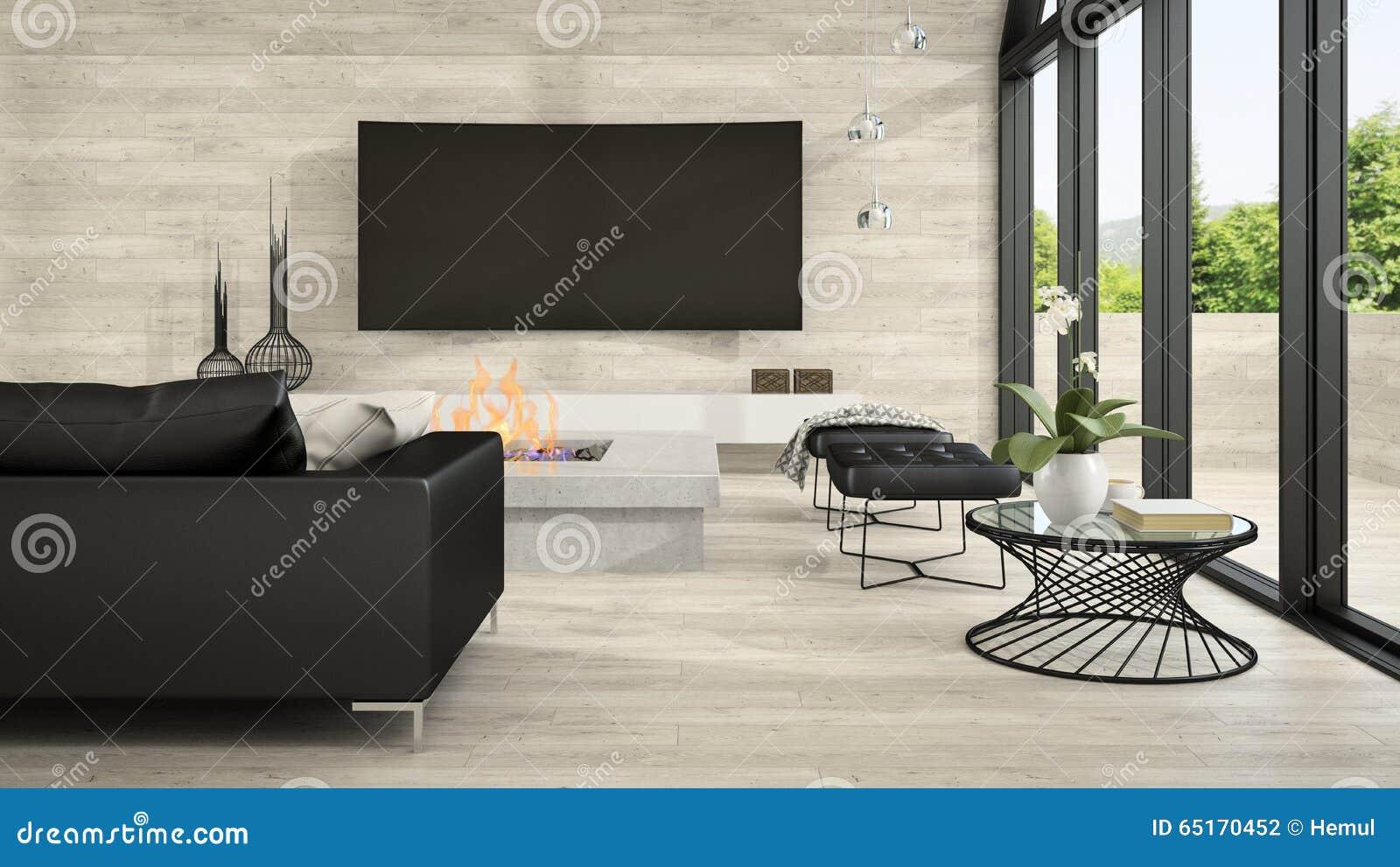 Inre av vardagsrum 3D som för modern design framför 5