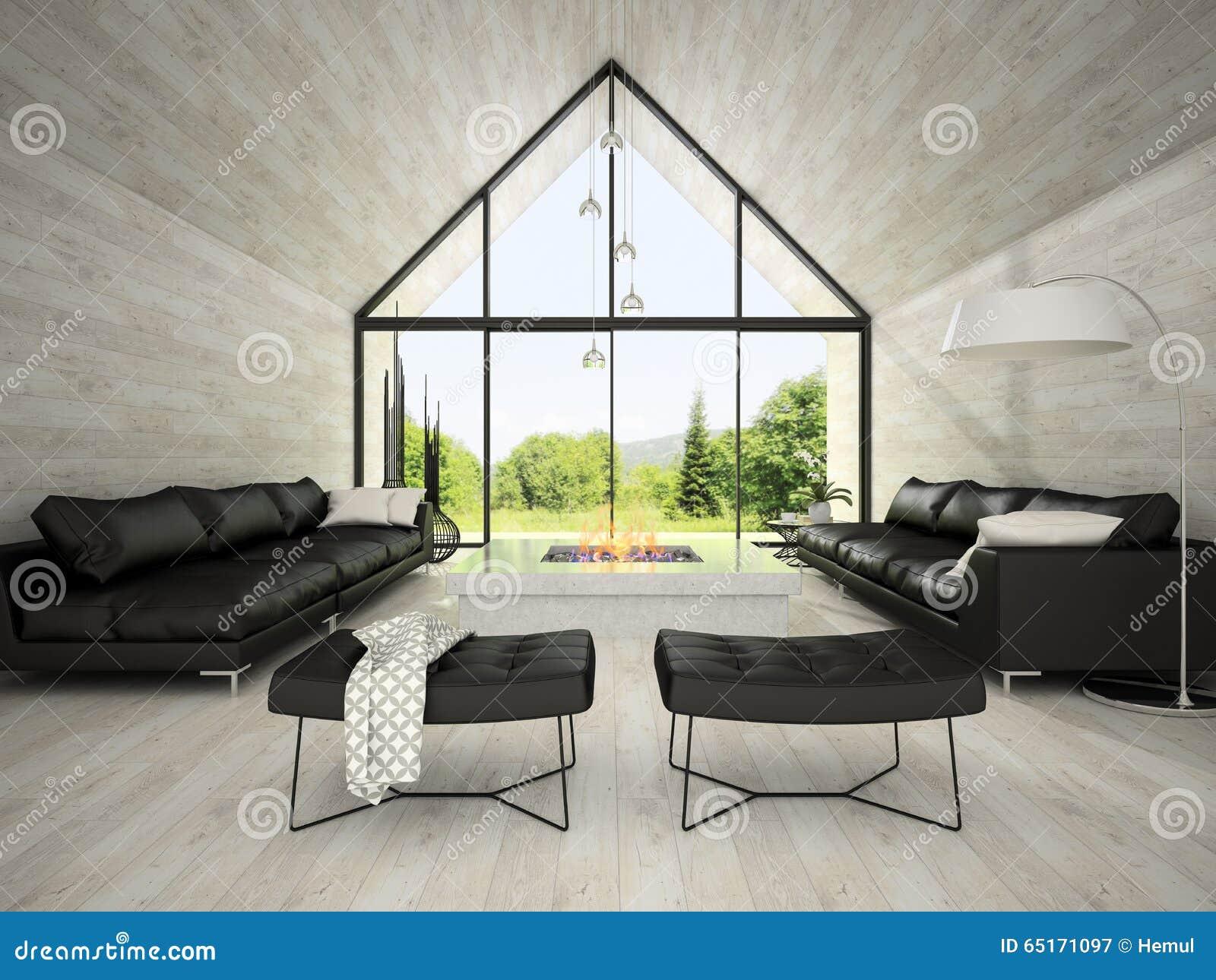 Inre av vardagsrum 3D som för modern design framför 3