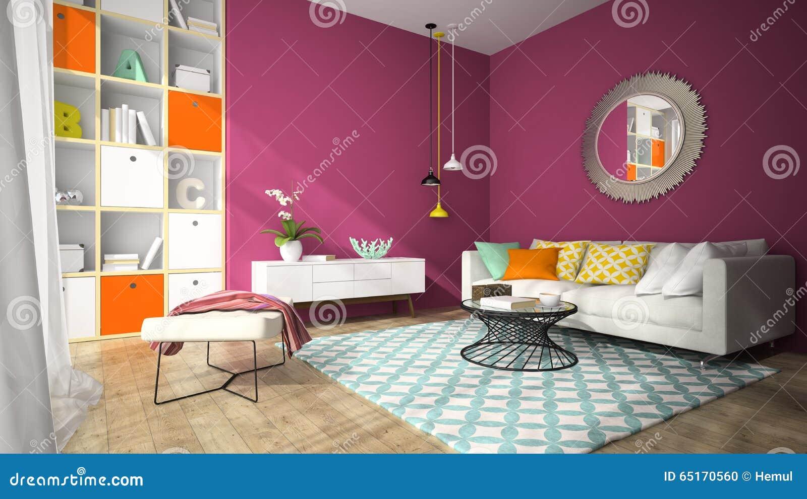 Inre av vardagsrum för modern design med rund rende för spegel 3d ...