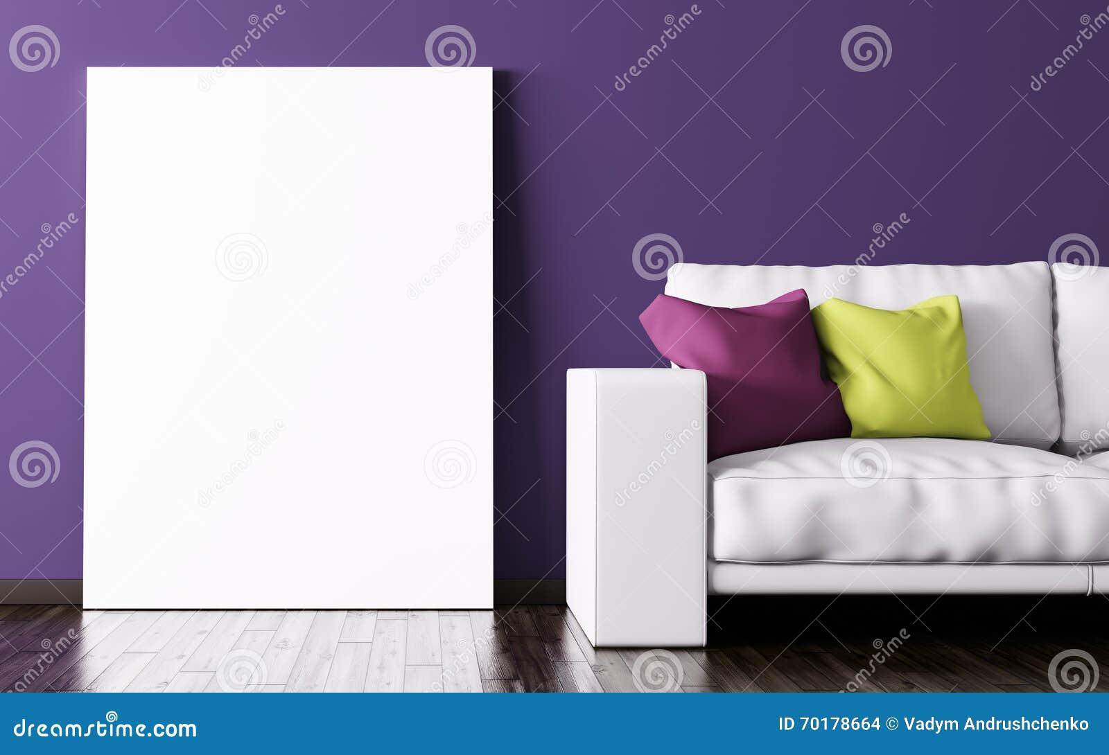 Inre av vardagsrum med den affisch- och för soffa 3d tolkningen