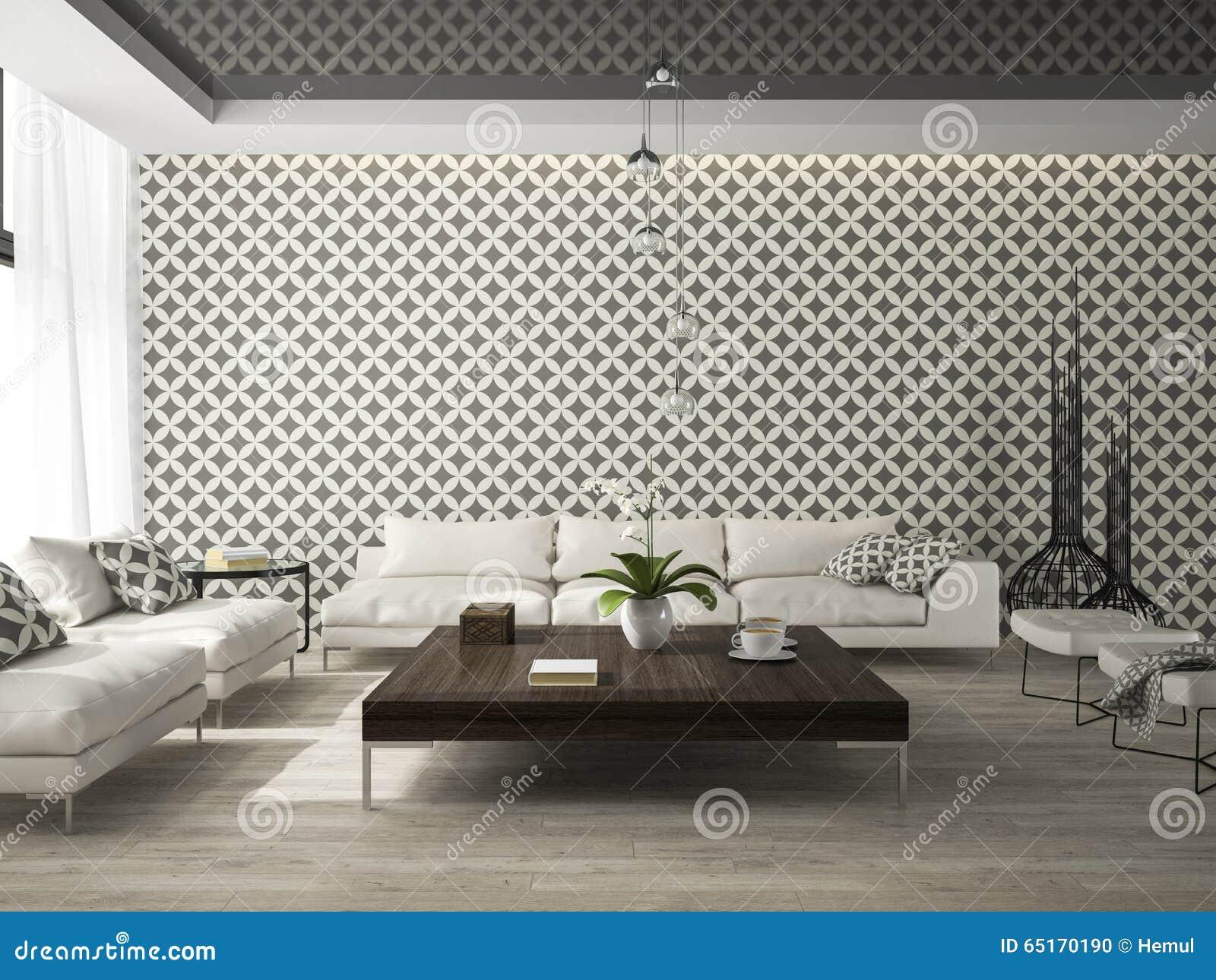 Inre av vardagsrum med den stilfulla tolkningen för tapet 3d ...