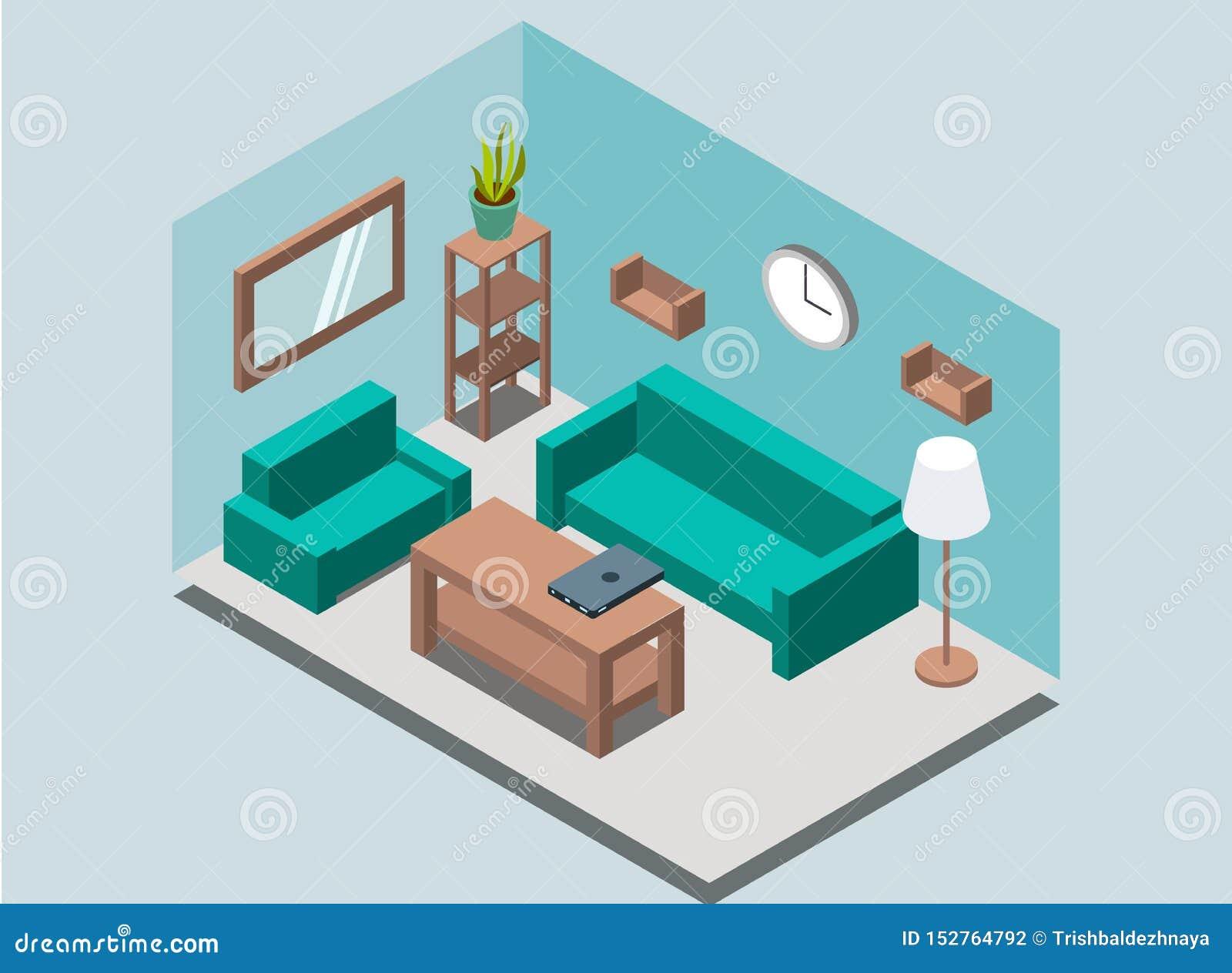 Inre bakgrund för hemtrevlig hem- vardagsrum med bokhyllor, kugge, lampa, växt, fåtölj, soffa, väggklocka, spegel, tabell, bärbar