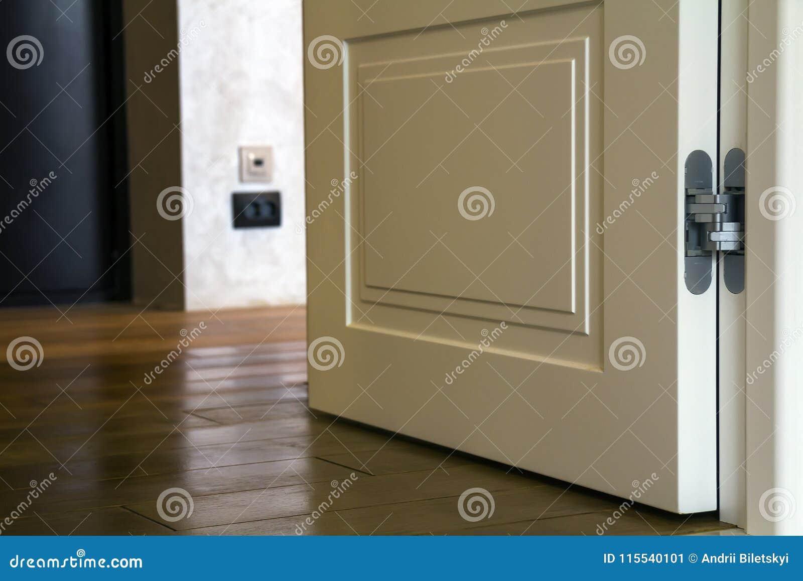 Inre detalj för modernt hus med den träparkettgolvet och vitdörren Lägenhet efter renoveringnärbild