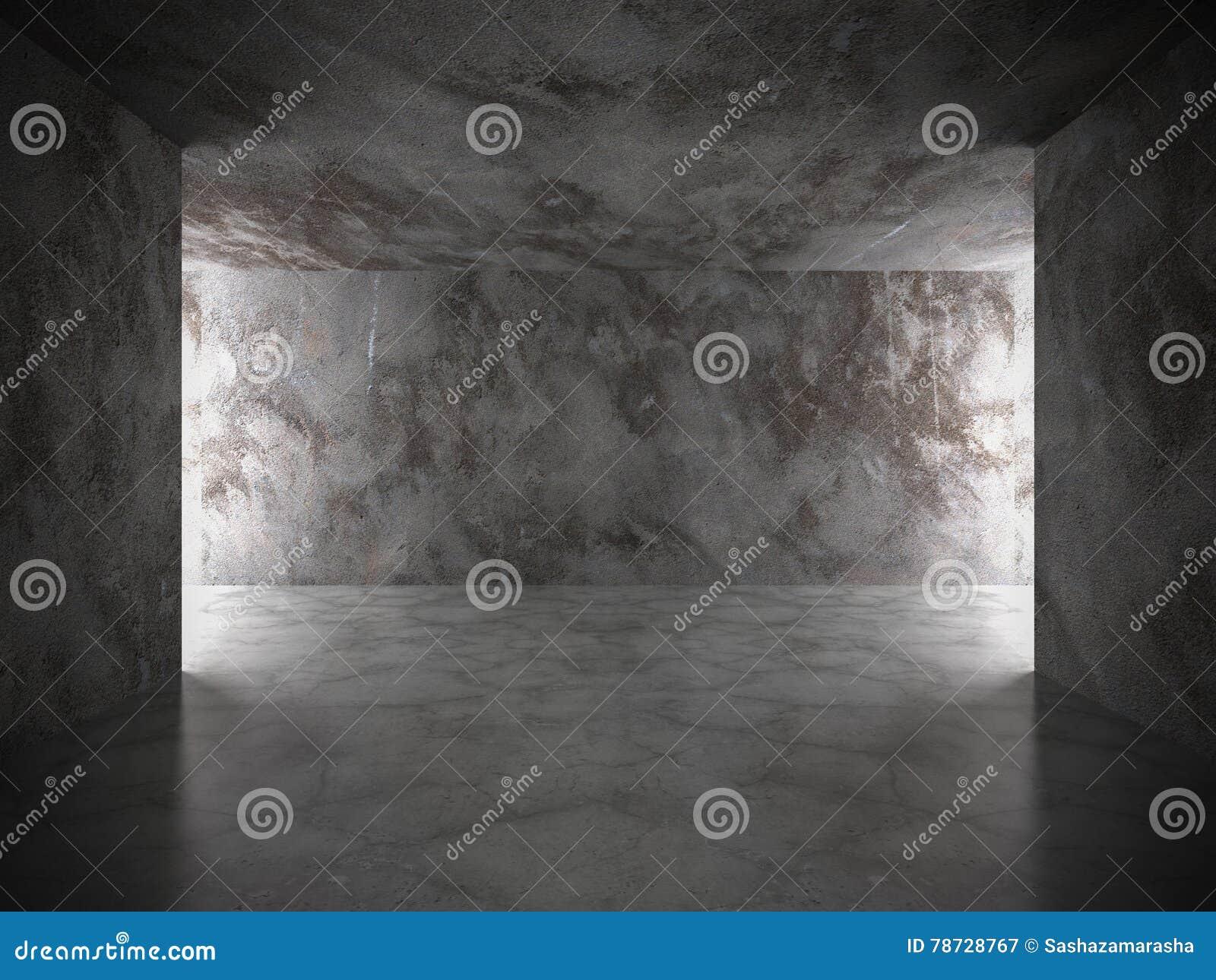 Inre för mörkerbetongrum med ljus Grungearkitekturbac