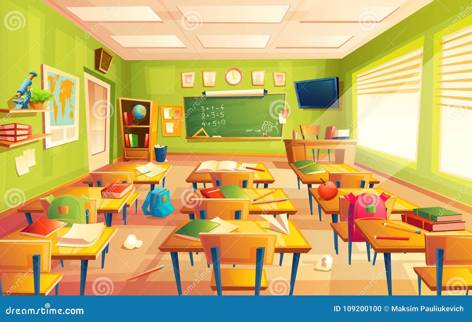 Inre för vektorskolaklassrum, matematikutbildningsrum Bildande begrepp, svart tavla, tabellhögskolamöblemang