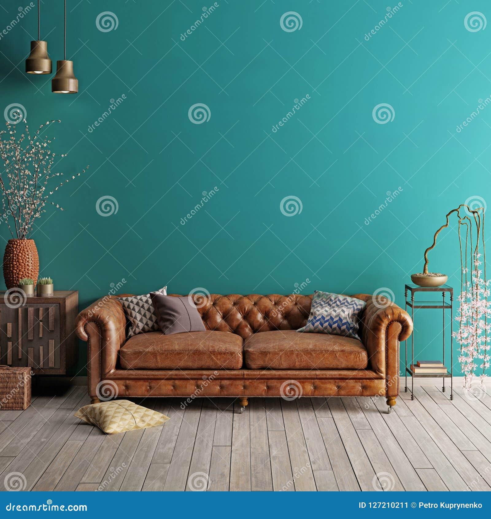 Inre i klassisk stil med den mjuka soffan och lampor med dekoren