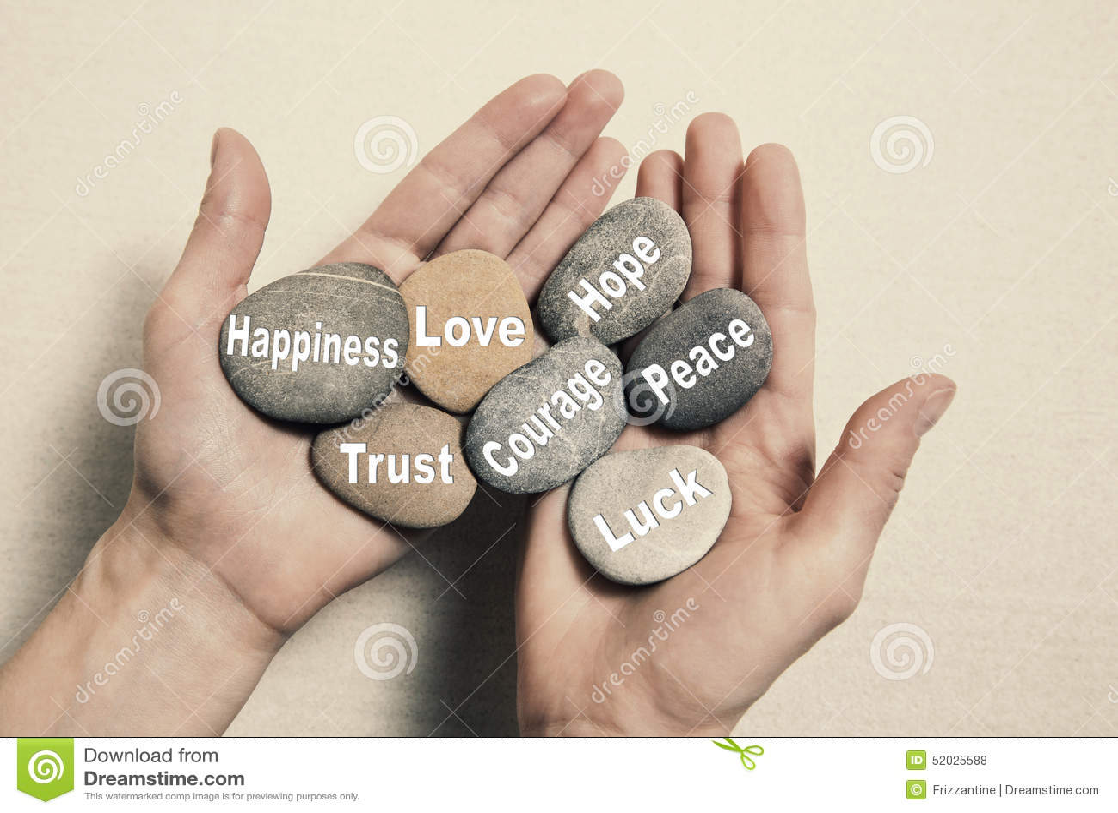Inre jämviktsbegrepp: händer som rymmer stenar med ordhappien
