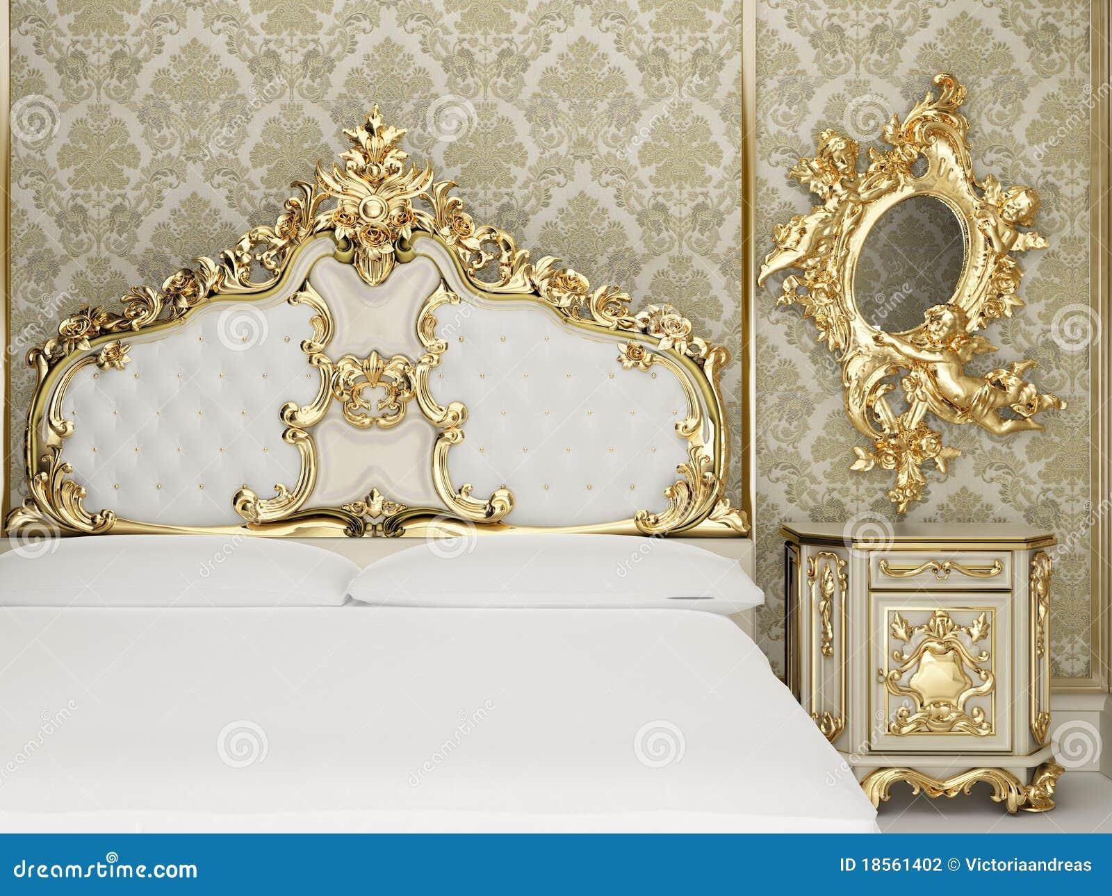 Inre kungligt följe för barockt sovrum arkivbild   bild: 18561402