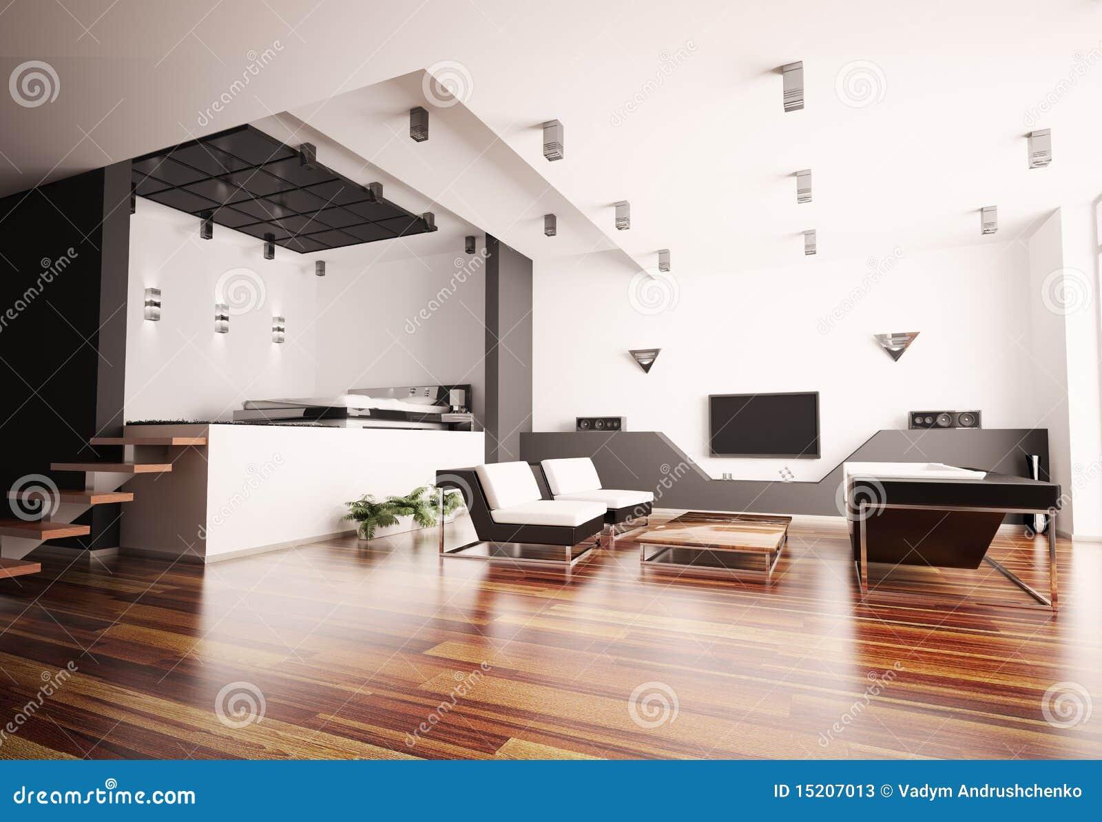Inre modernt för lägenhet 3d