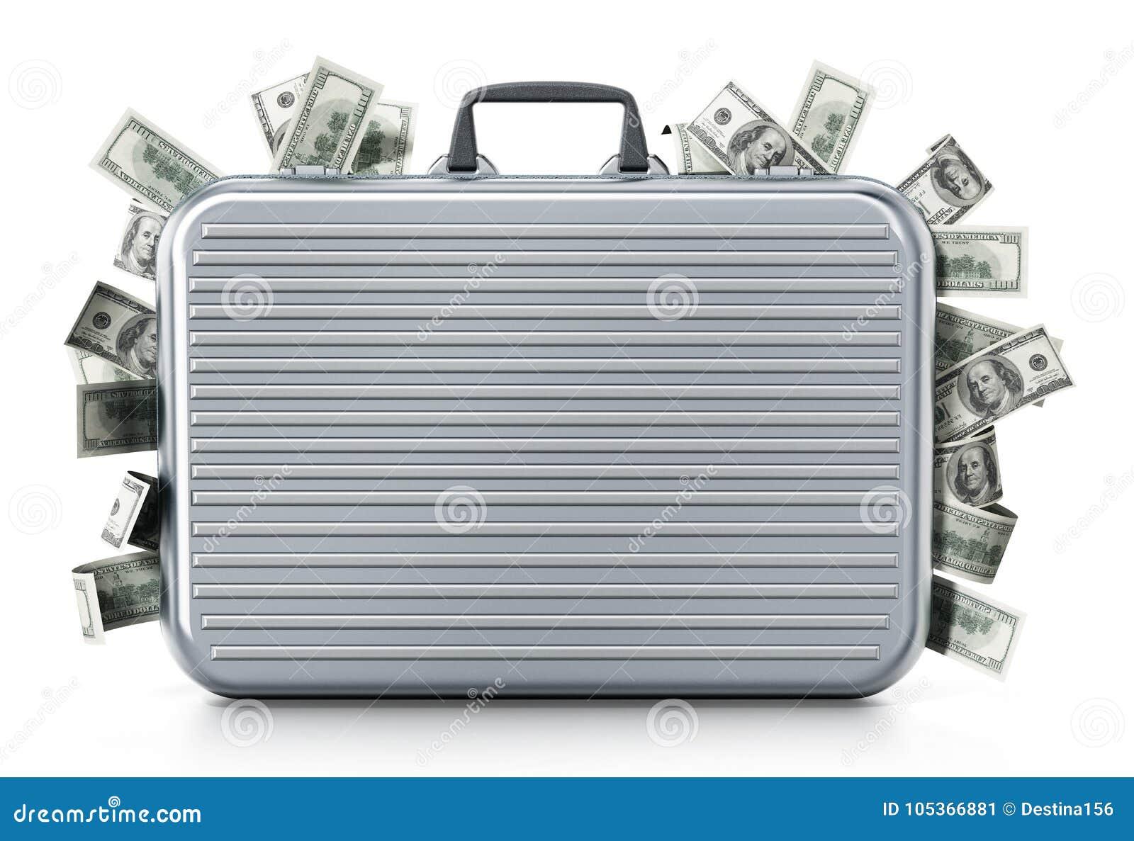 Inre portfölj för dollarhögar illustration 3d
