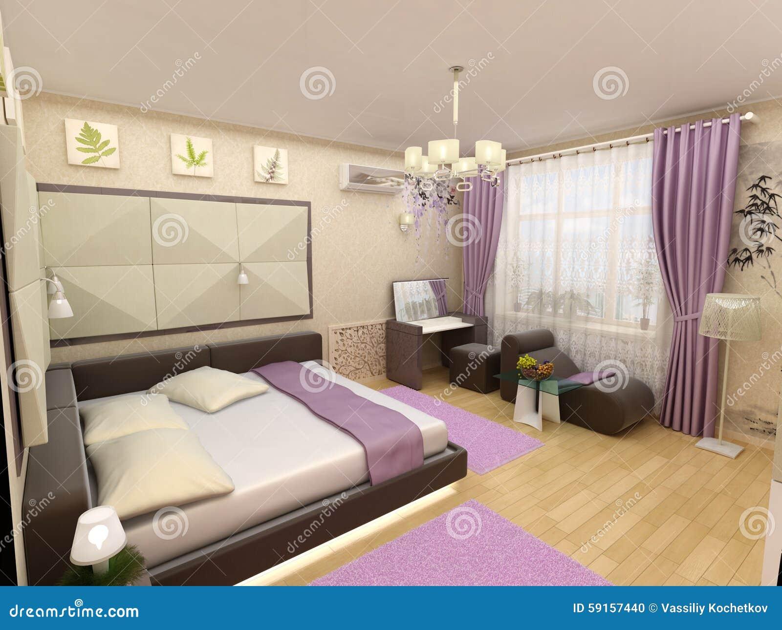 Inre sovrum 3d med säng och ett fönster till stock illustrationer ...