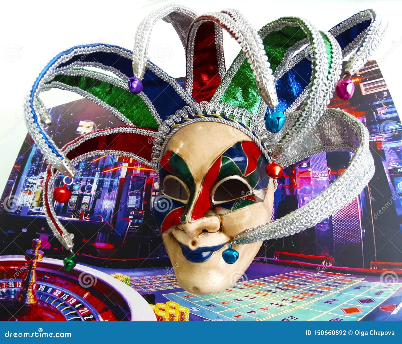 Inre Venetian karnevalmaskeringar av joker