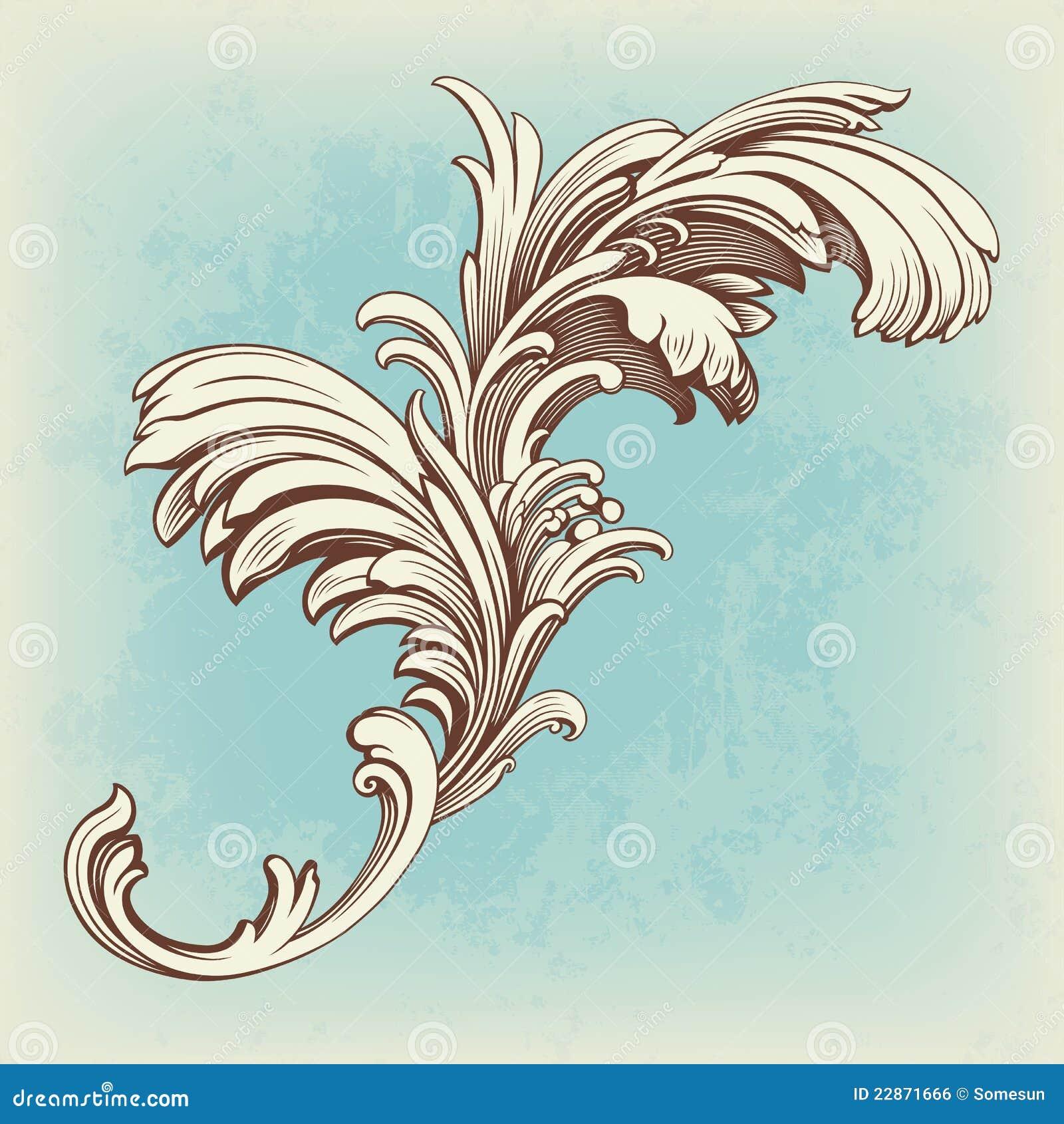 Inrista tappning för scroll för blommamotivmodell