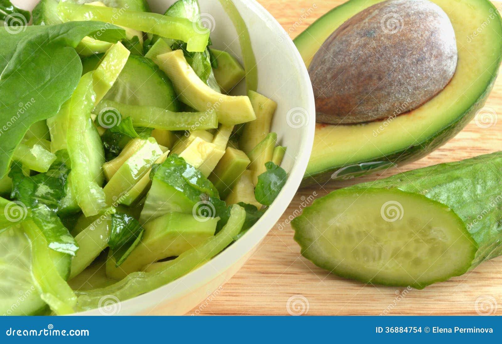 Download Insalata Dell'avocado E Del Cetriolo Fotografia Stock - Immagine di ricette, d0: 36884754