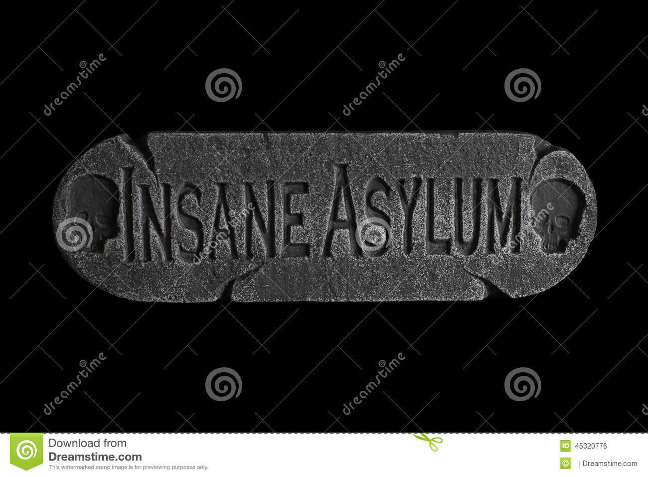Insane Asylum Plaque For The Door Stock Photo Image Of Fall