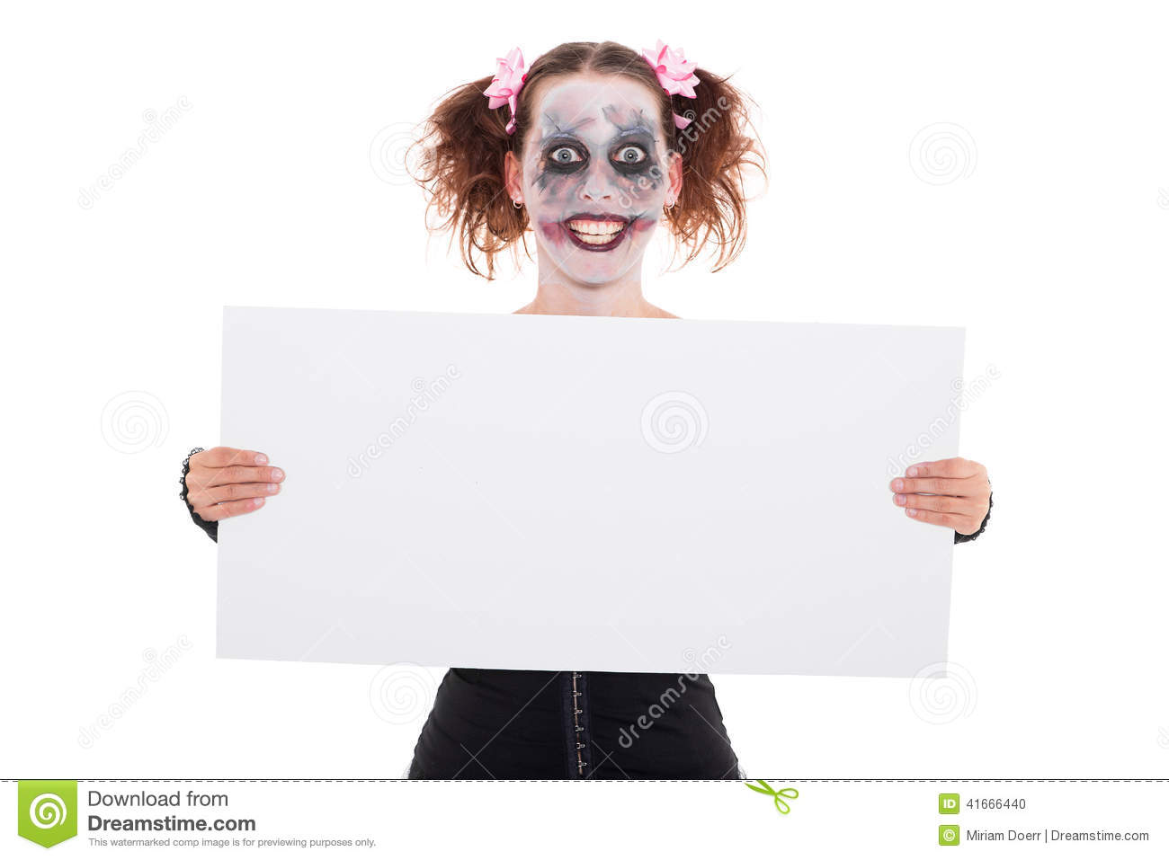 Insane smiling female clown with empty sign