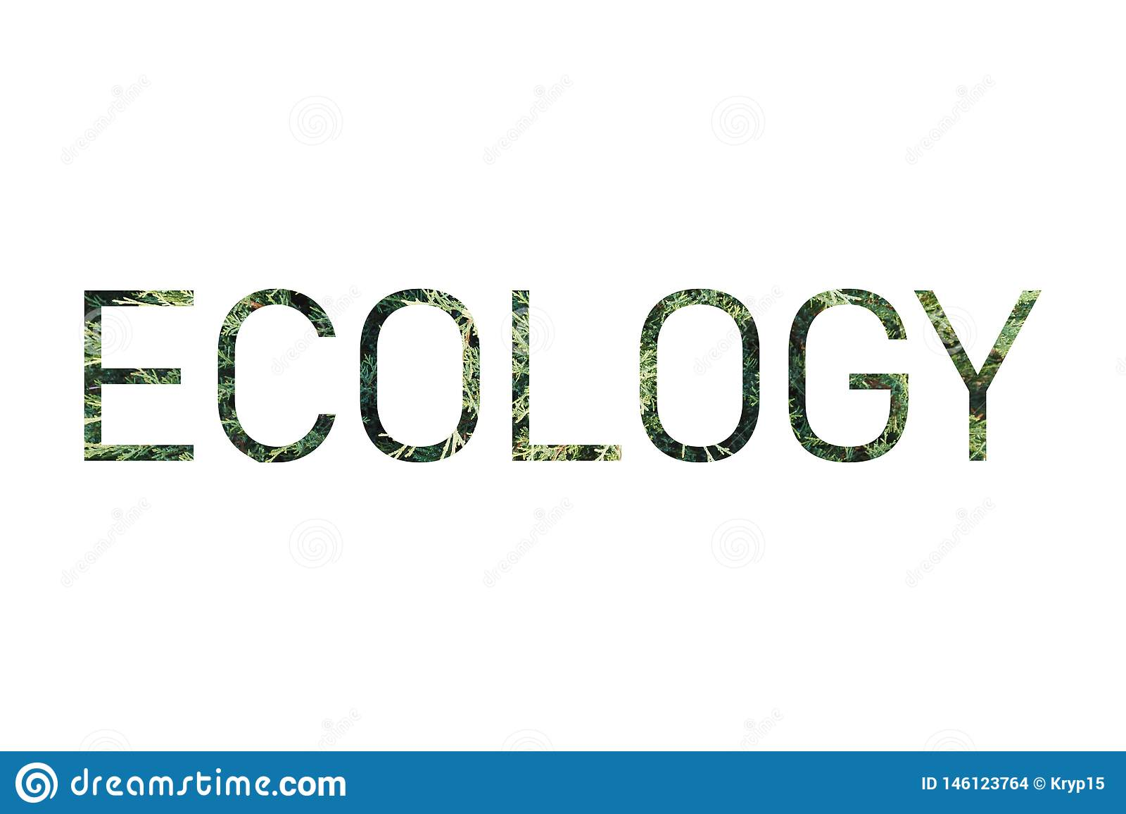 Inschrijving 'Ecologie 'op de achtergrond van een het leven groene installatie
