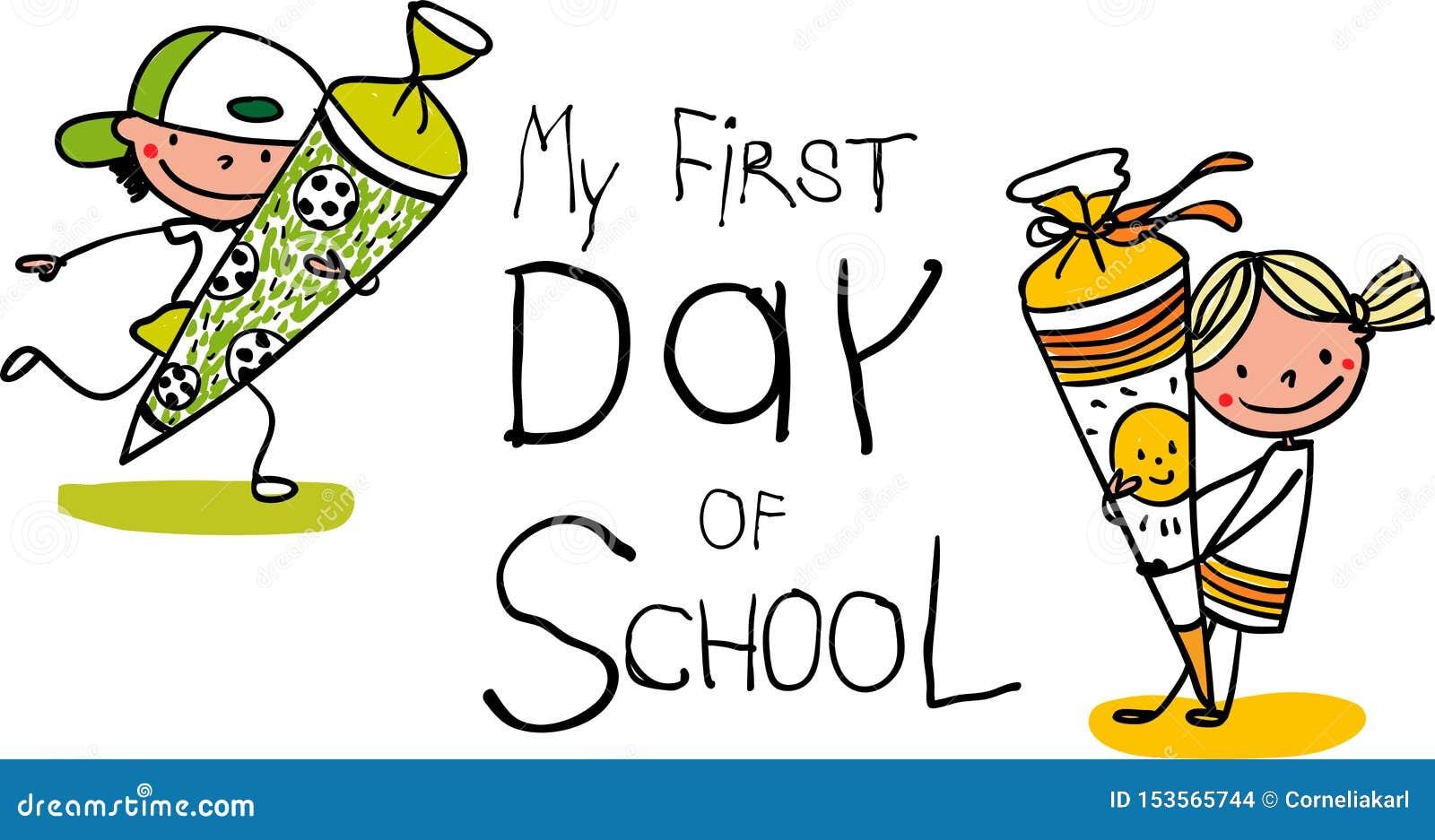 Inschrijving - Eerste Dag van school - Leuke eerste nivelleermachines met schoolkegels - kleurrijk hand getrokken beeldverhaal