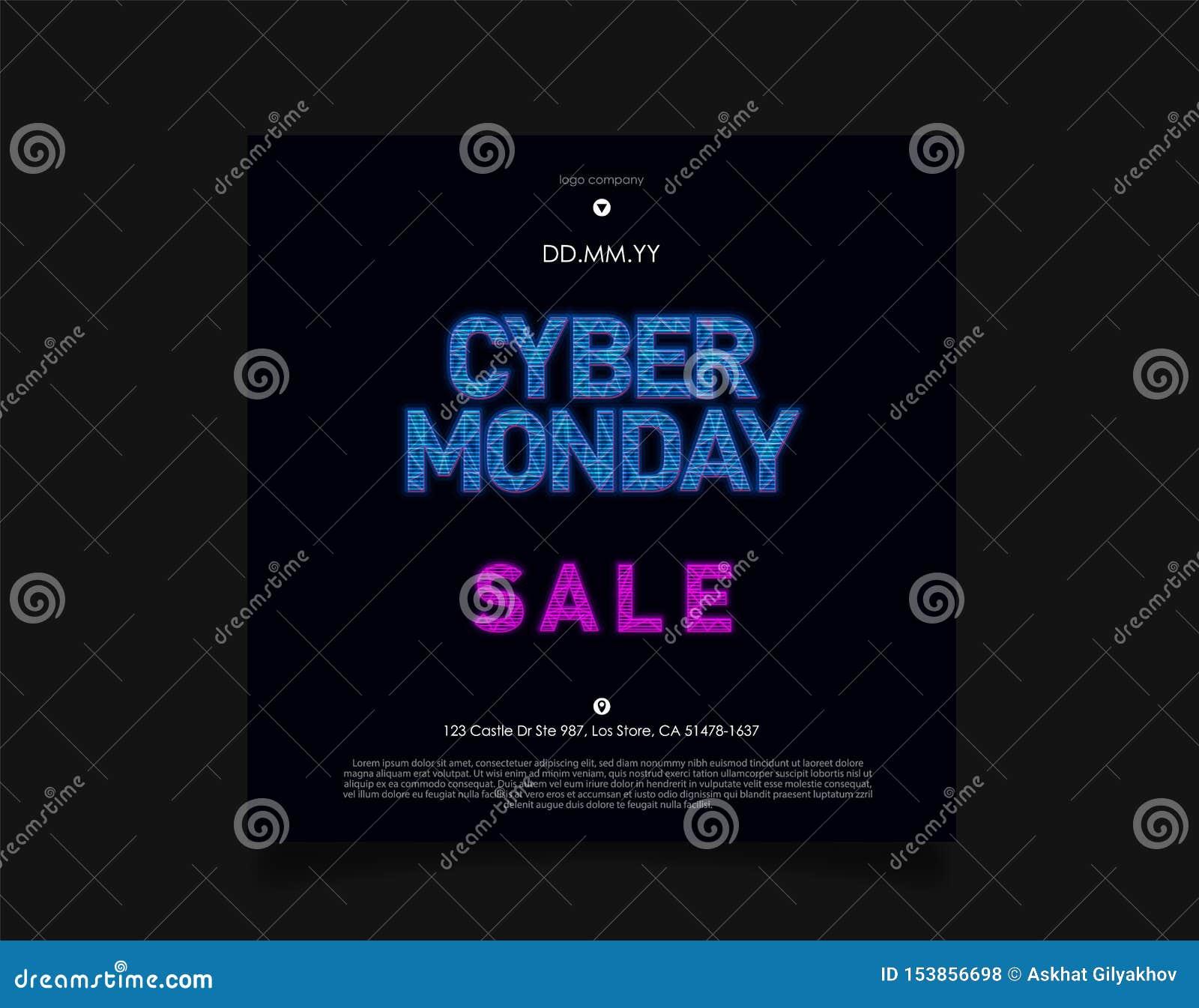 Inscrição da venda de segunda-feira do Cyber no estilo futurista de HUD do holograma no fundo escuro com luzes azuis Projeto para