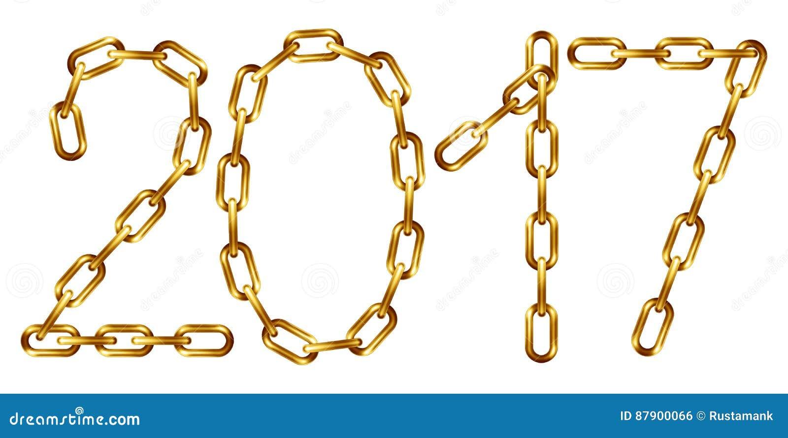 Inscrição 2017 do vetor feita da corrente dourada