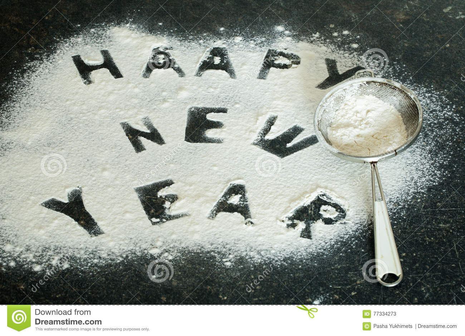 Inscripción 2017 del Año Nuevo de la harina en la tabla