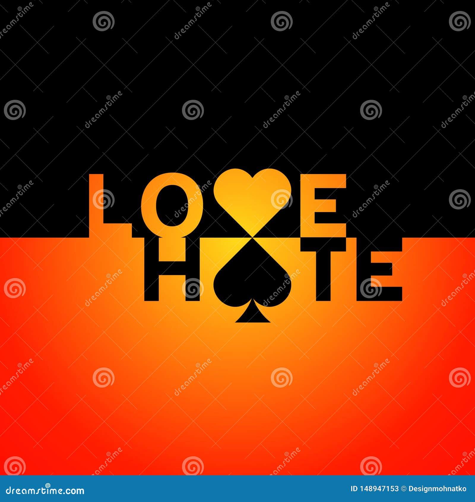Inscripci?n del texto del amor y del odio para el logotipo moderno del stilysh con los corazones y las muestras de las espadas