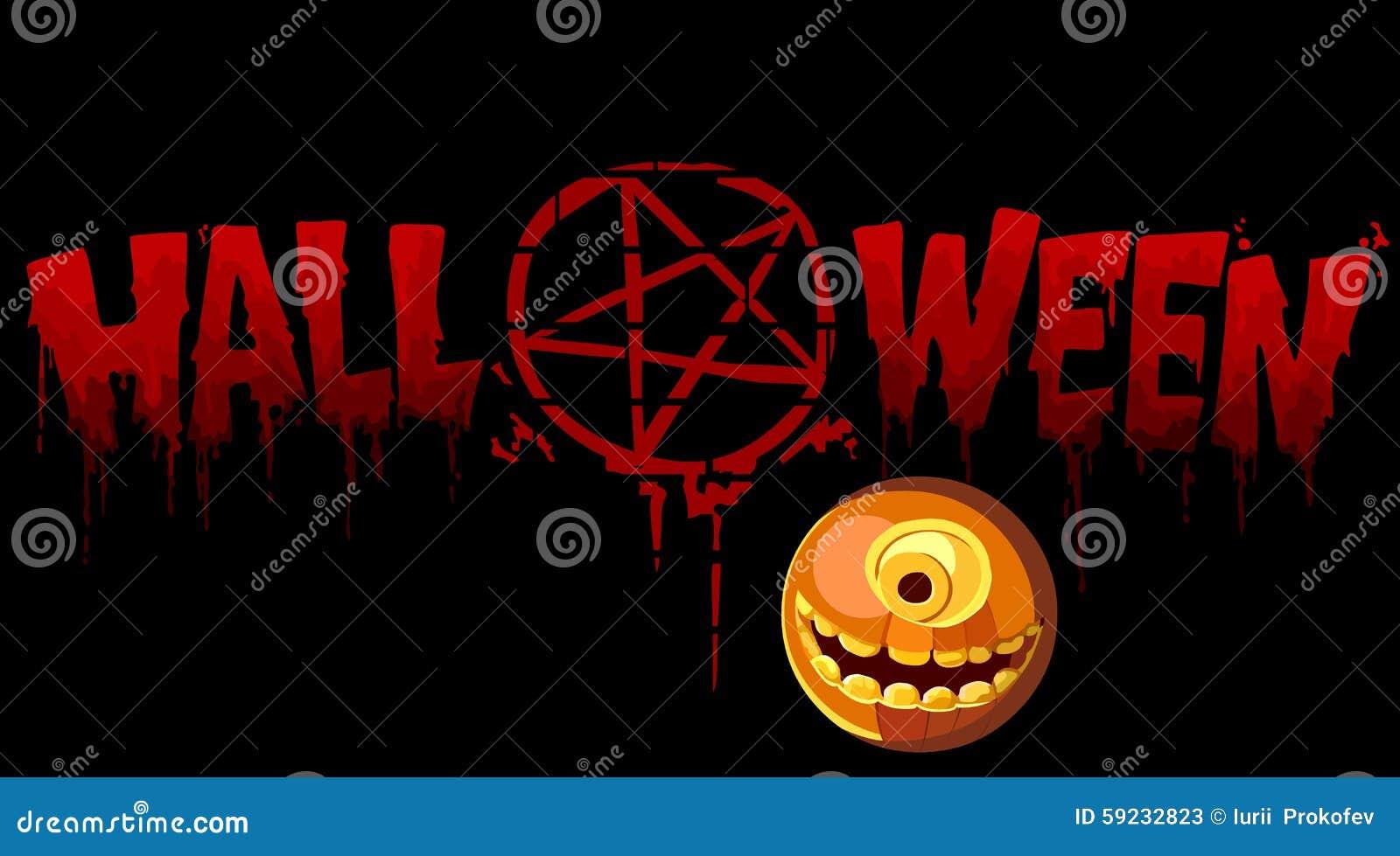 Inscripción sangrienta Halloween con una muestra y una calabaza
