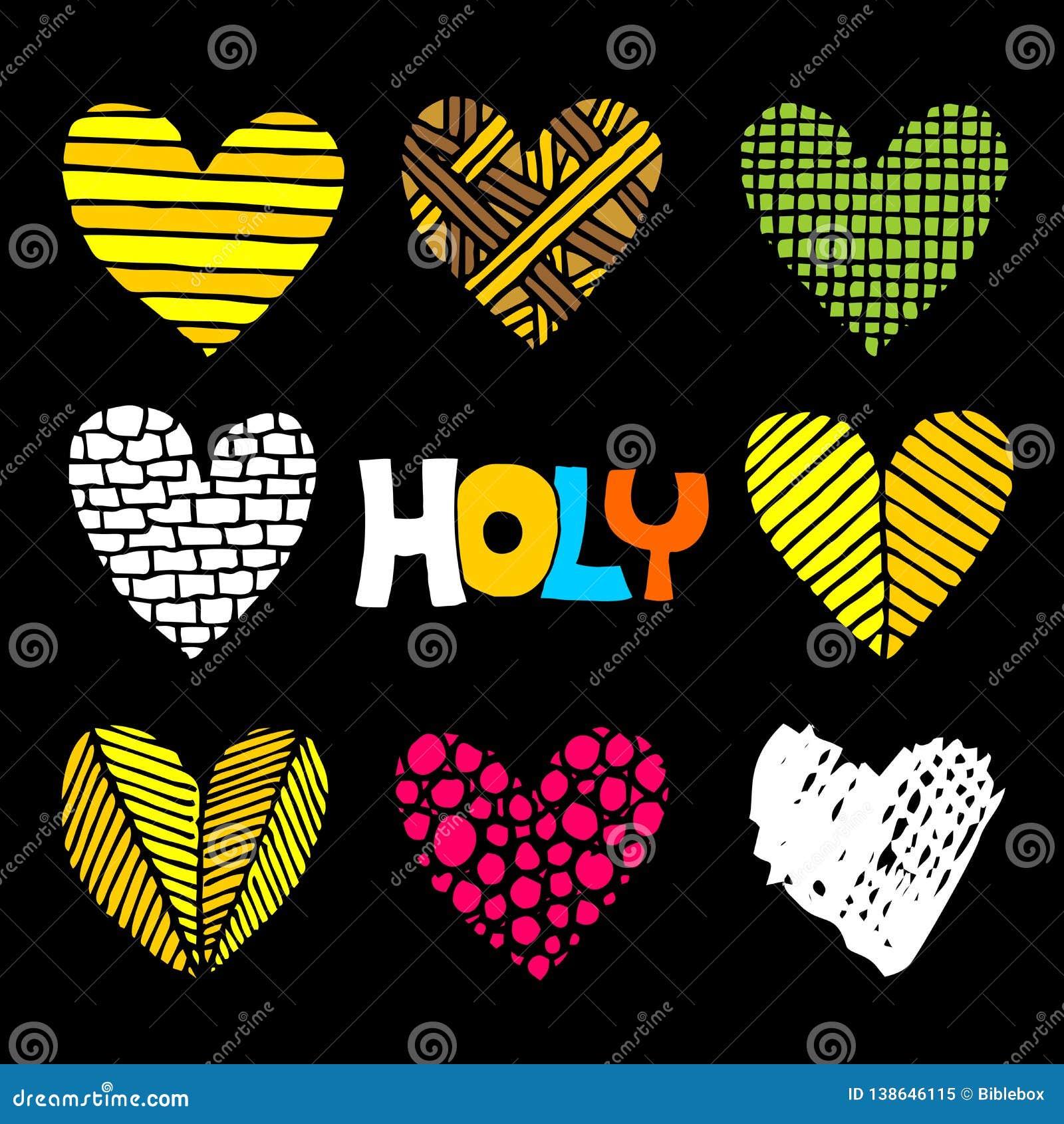 Inscripciones cristianas y corazones dibujados a mano Ejemplos e iconos bíblicos del vector