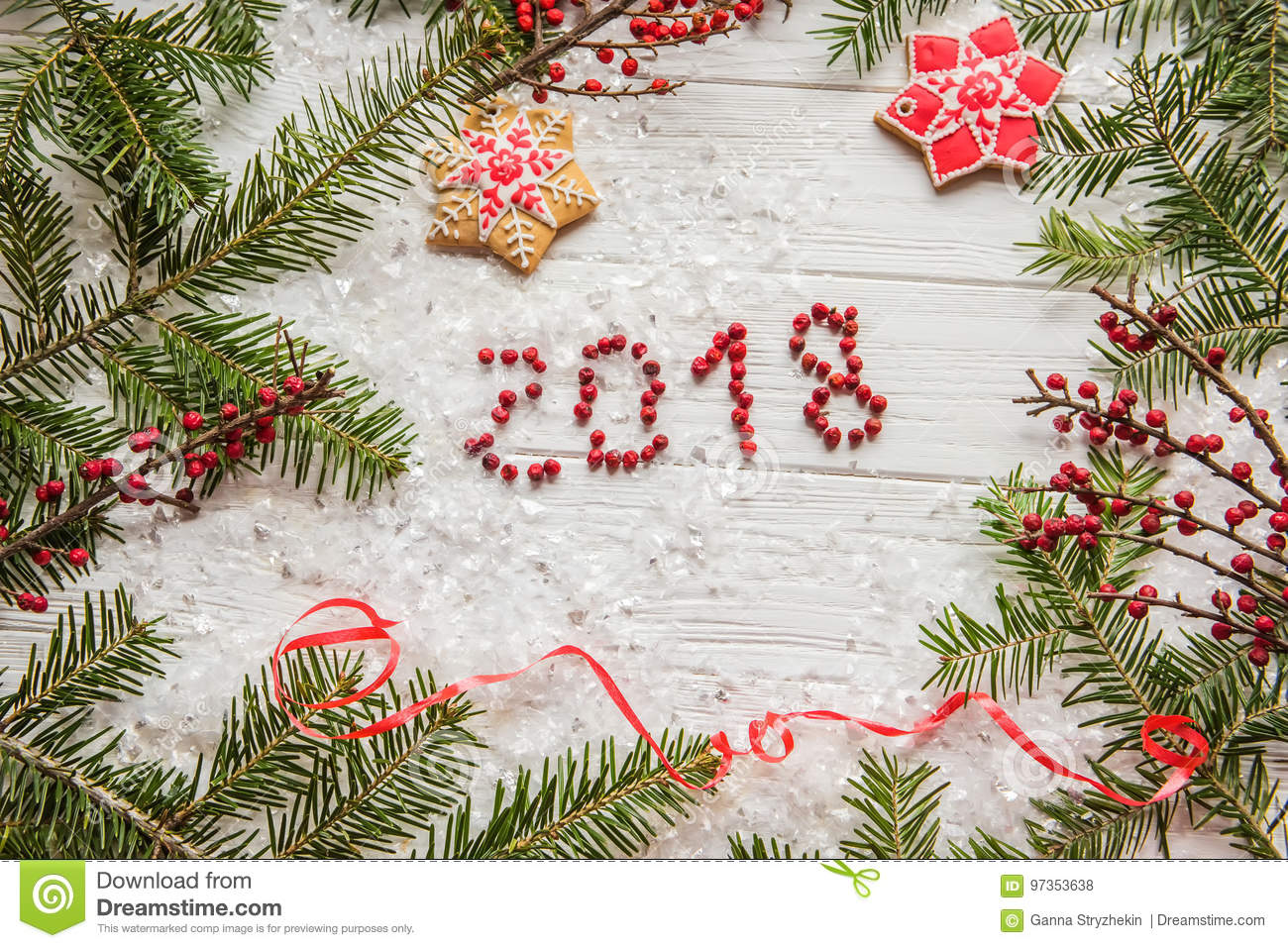 Inscription Berries `2018` Among The Branches Of Spruce And ...