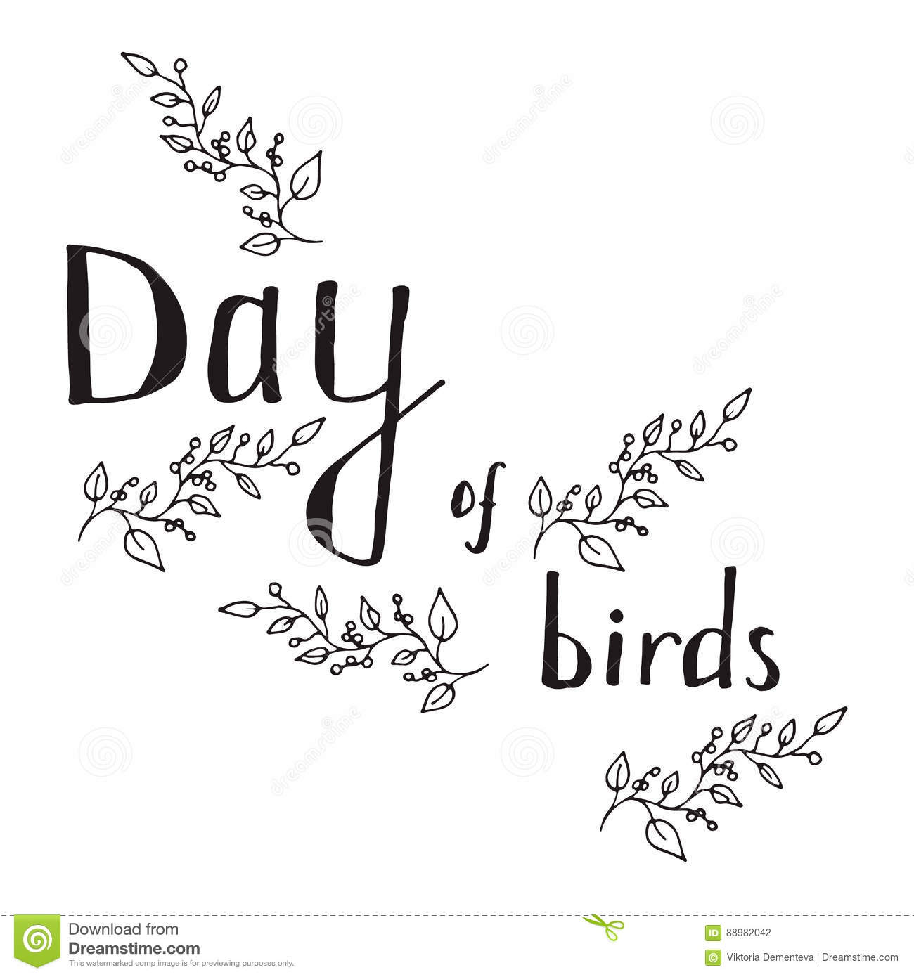 The Inscription Bird Day Black Outline On A White Background, Framed ...