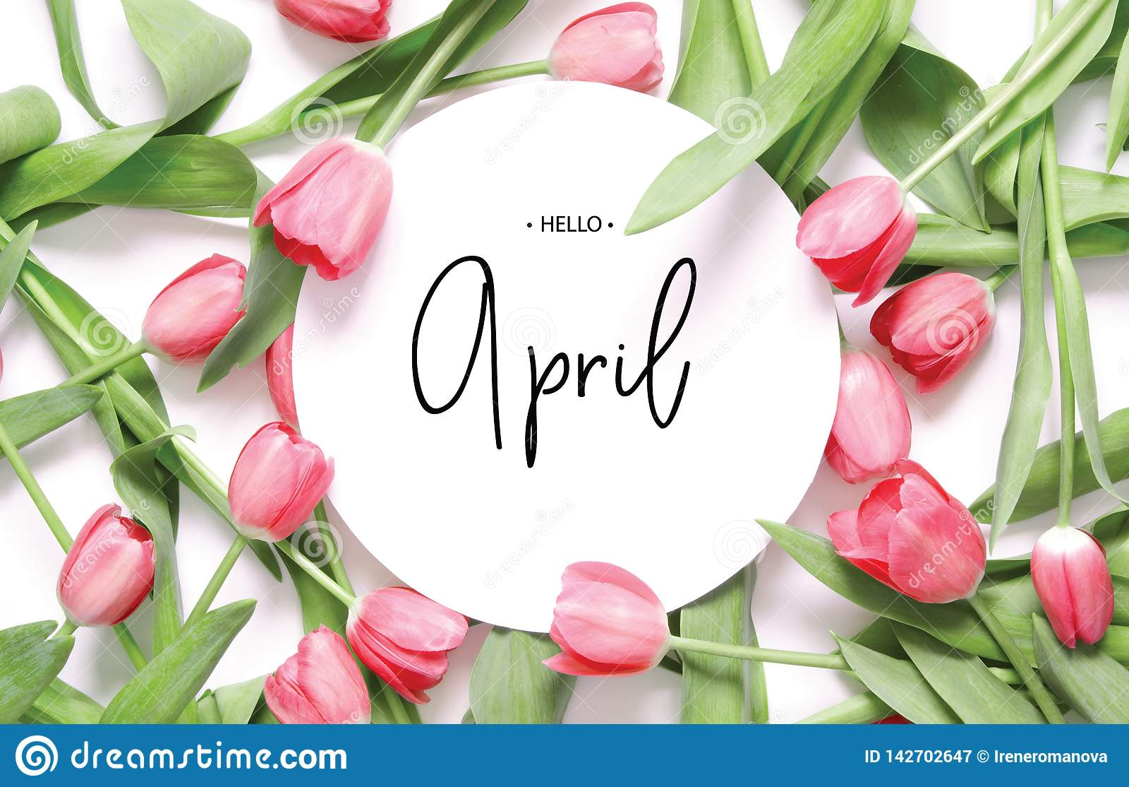 Inscription bonjour avril Fleur de tulipe
