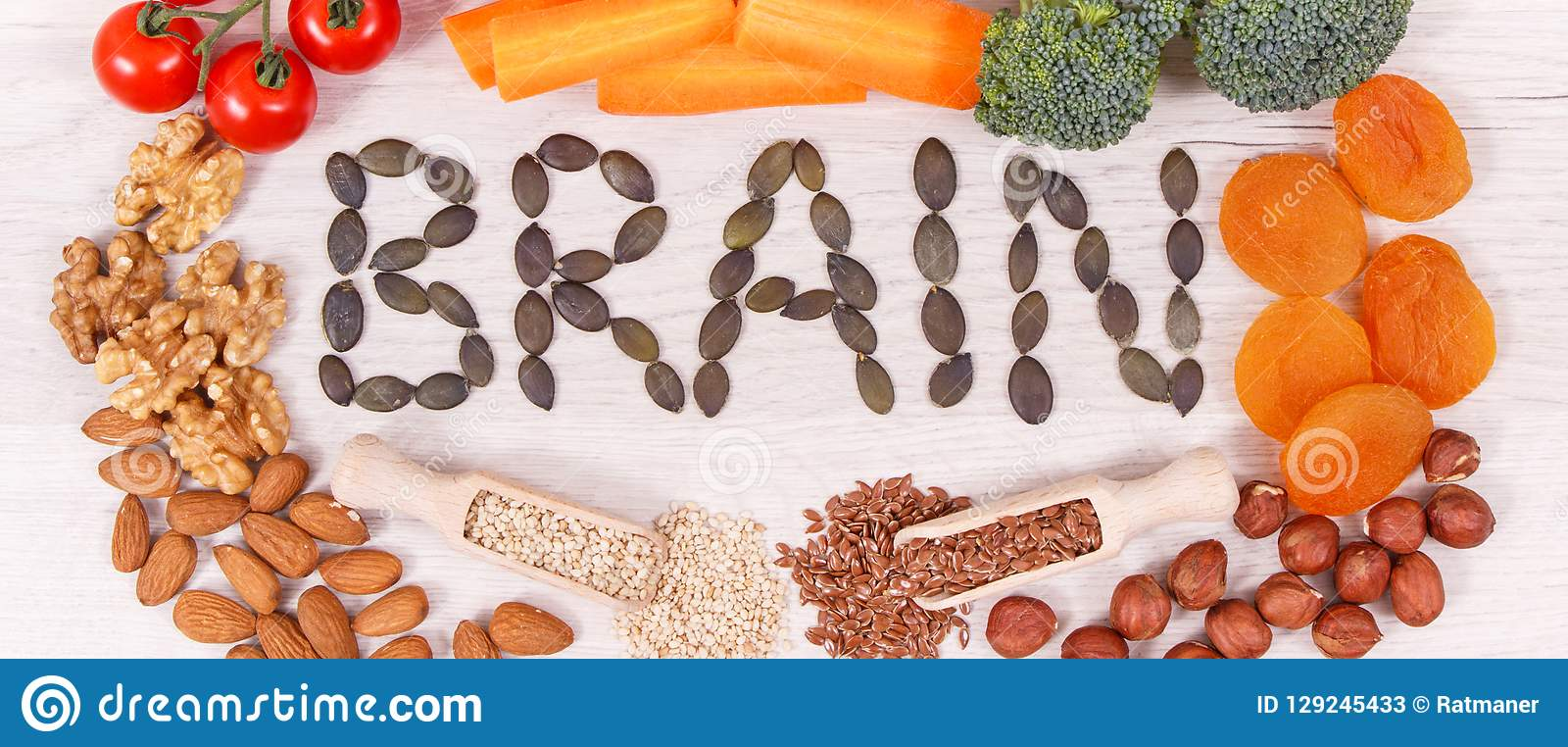 Inscription brain and best nutritious natural food for health and good memory