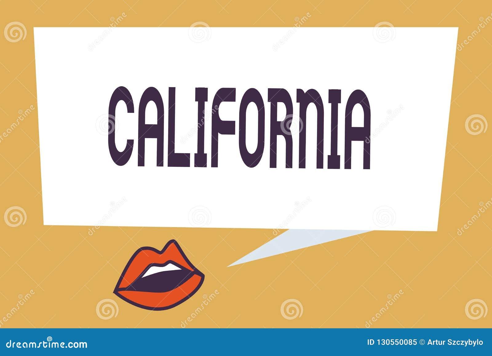 Inscription de la note montrant la Californie L état de présentation de photo d affaires sur la côte ouest Etats-Unis d Amérique