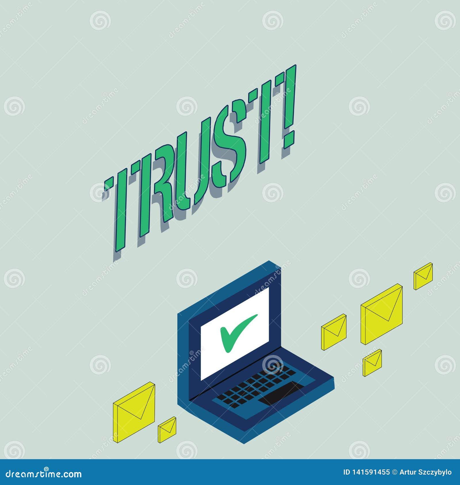 Inscription de la note montrant la croyance de présentation de photo d affaires de confiance dans la confiance de capacité de vér