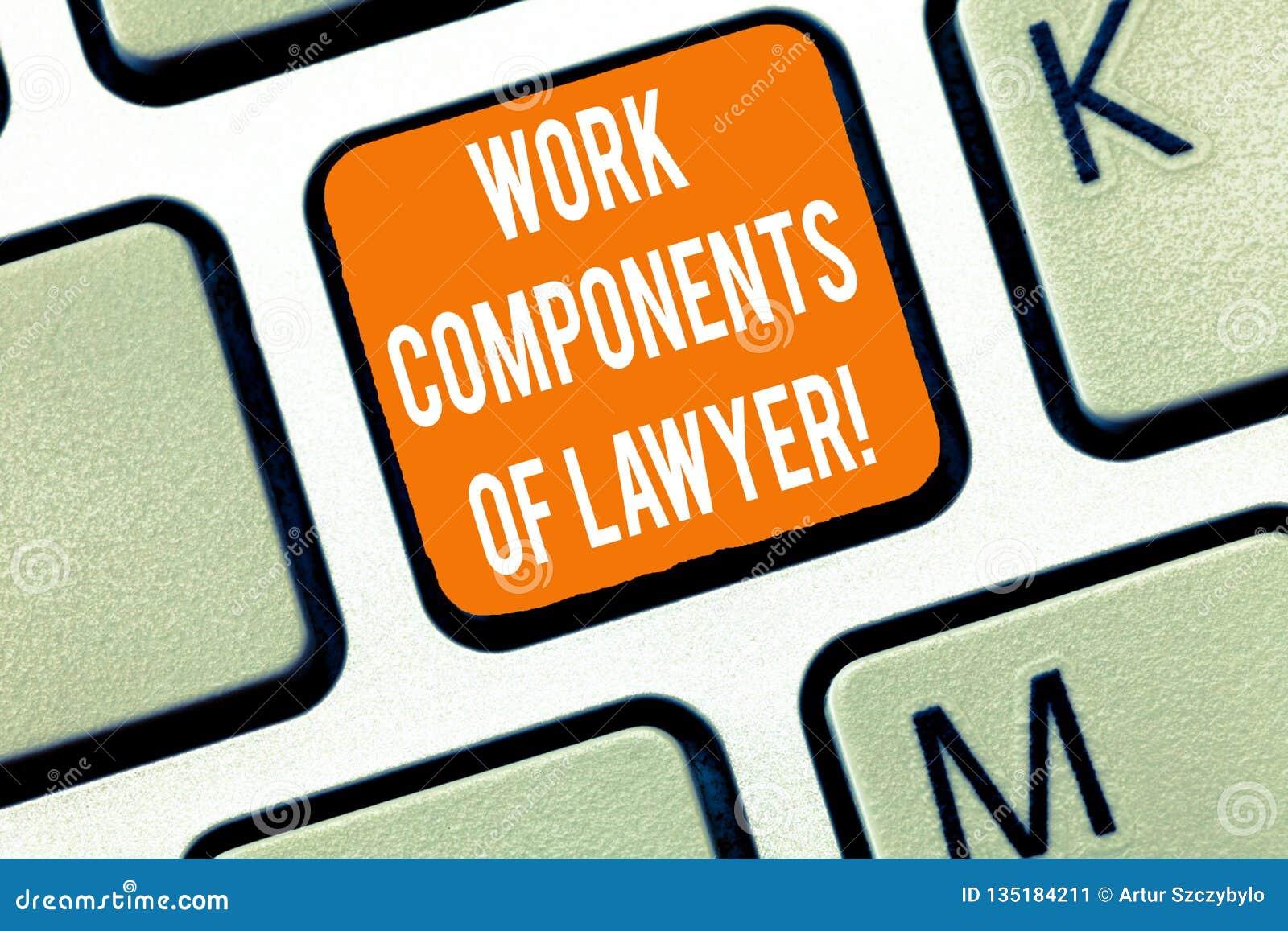 Inscription de la note montrant des composants de travail d avocat E