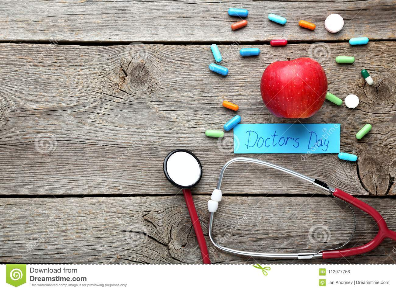 Inscription Doctors Day with pills