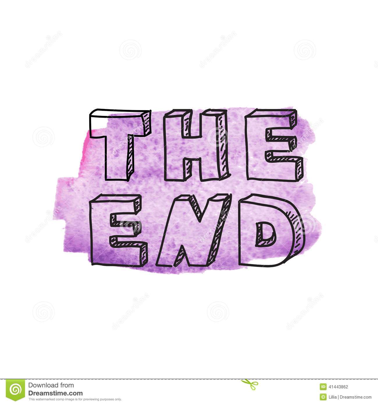 Inscription The End Stock Vector Image 41443862