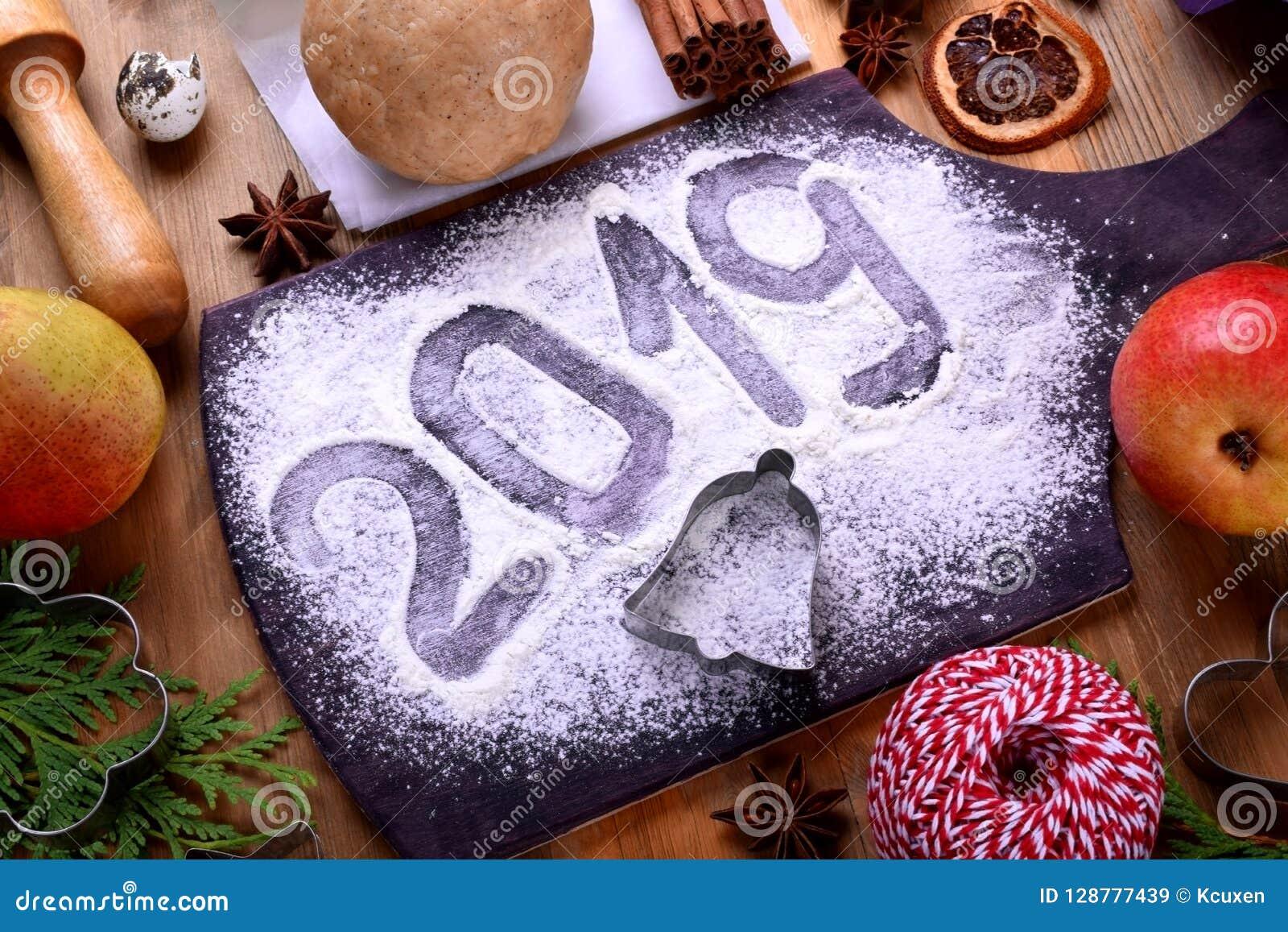 Christmas Cookie Recipes 2019.2019 Inscription On A Flour Sprinkled Board Christmas
