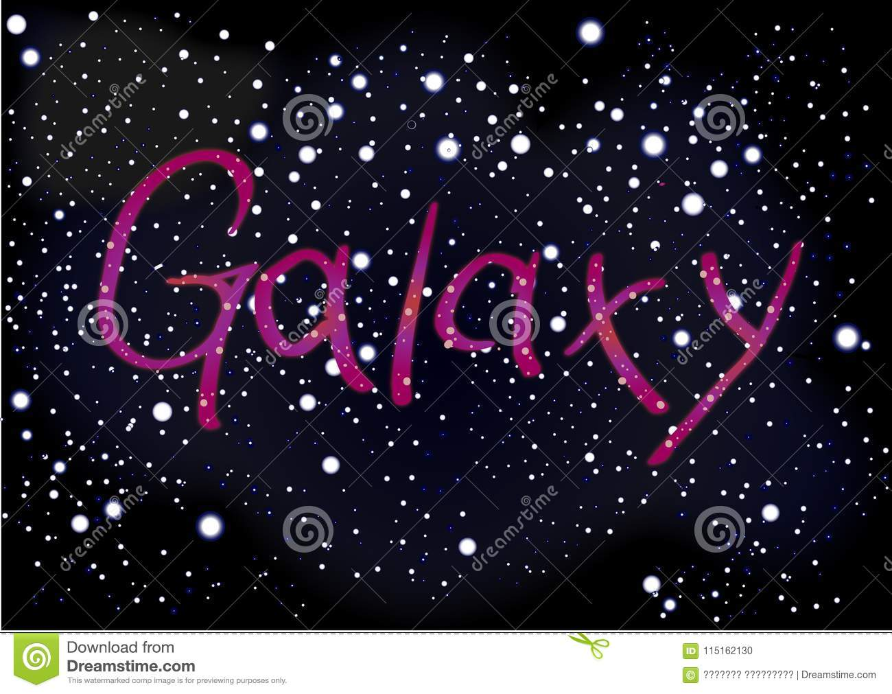 Download Inscription Galaxy On The Background Of Dark Space Sky With Mill Stock Illustration