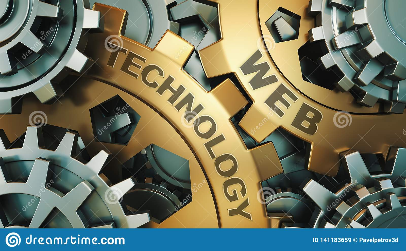 The inscription on the gold gears `web technology `. Business concept. Gear mechanism. 3d render